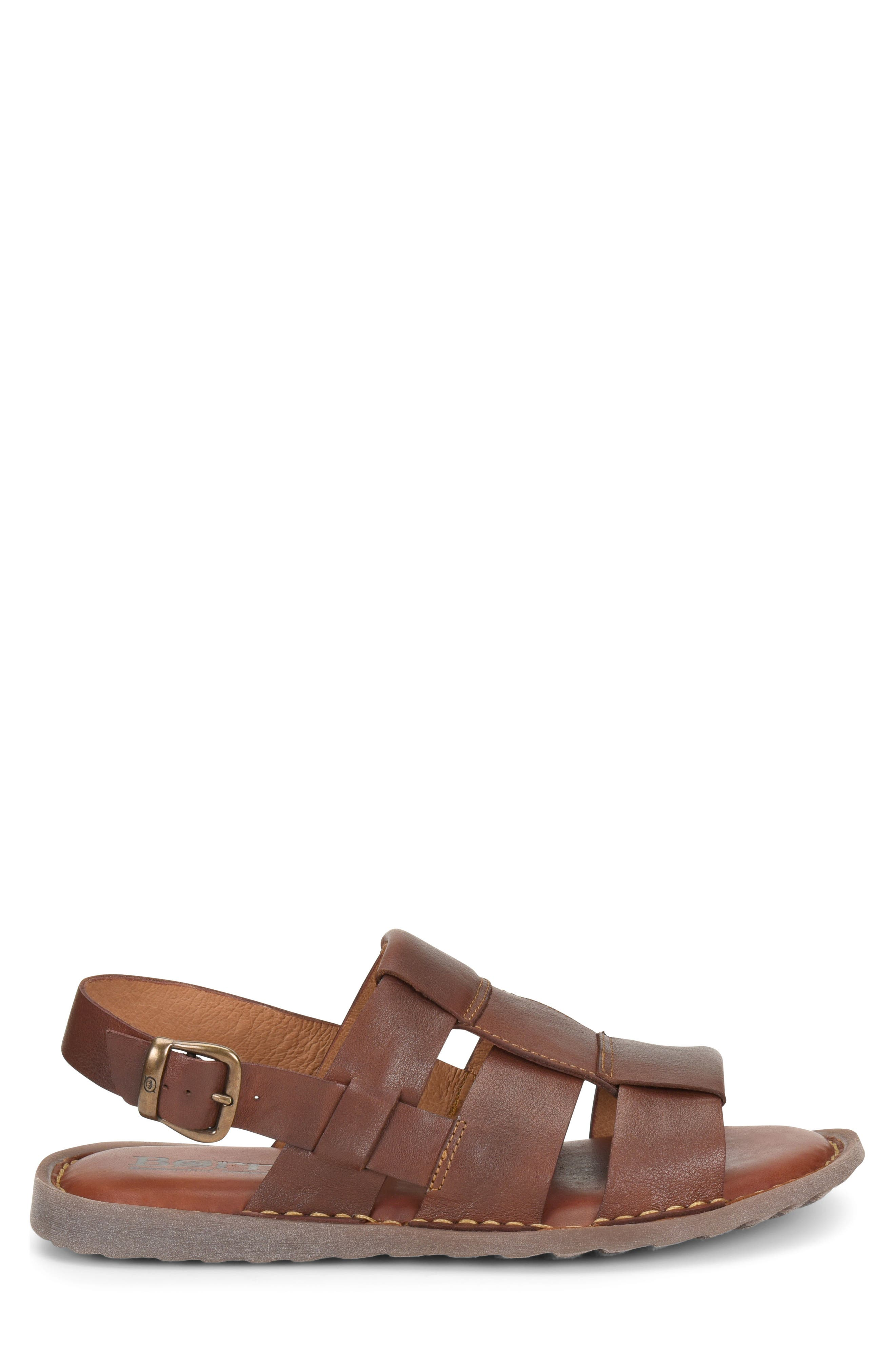 Surf Fisherman Sandal,                             Alternate thumbnail 3, color,                             BROWN LEATHER