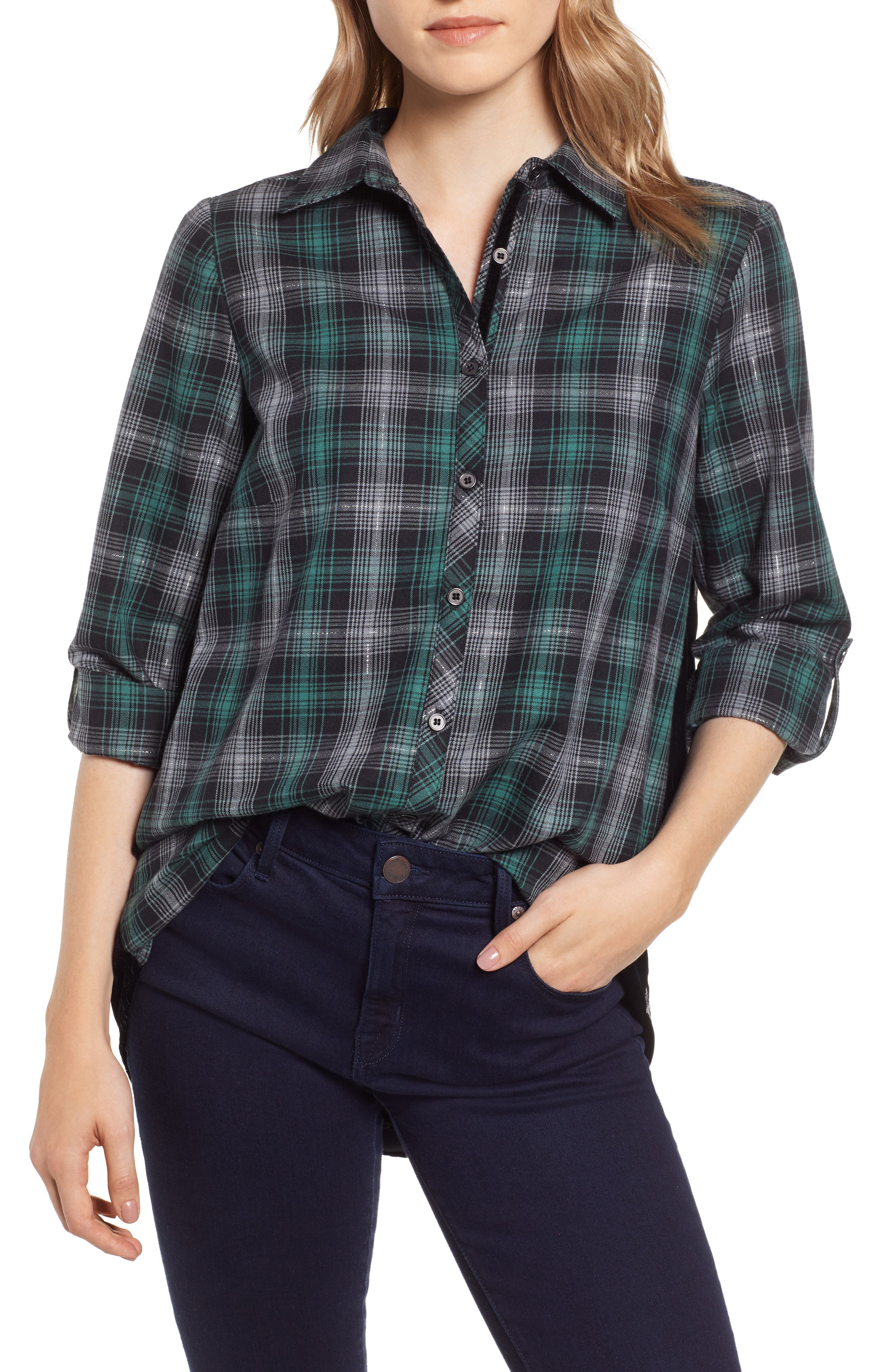 Plaid & Embroidered Velvet Shirt,                             Main thumbnail 1, color,                             GREEN/ GREY