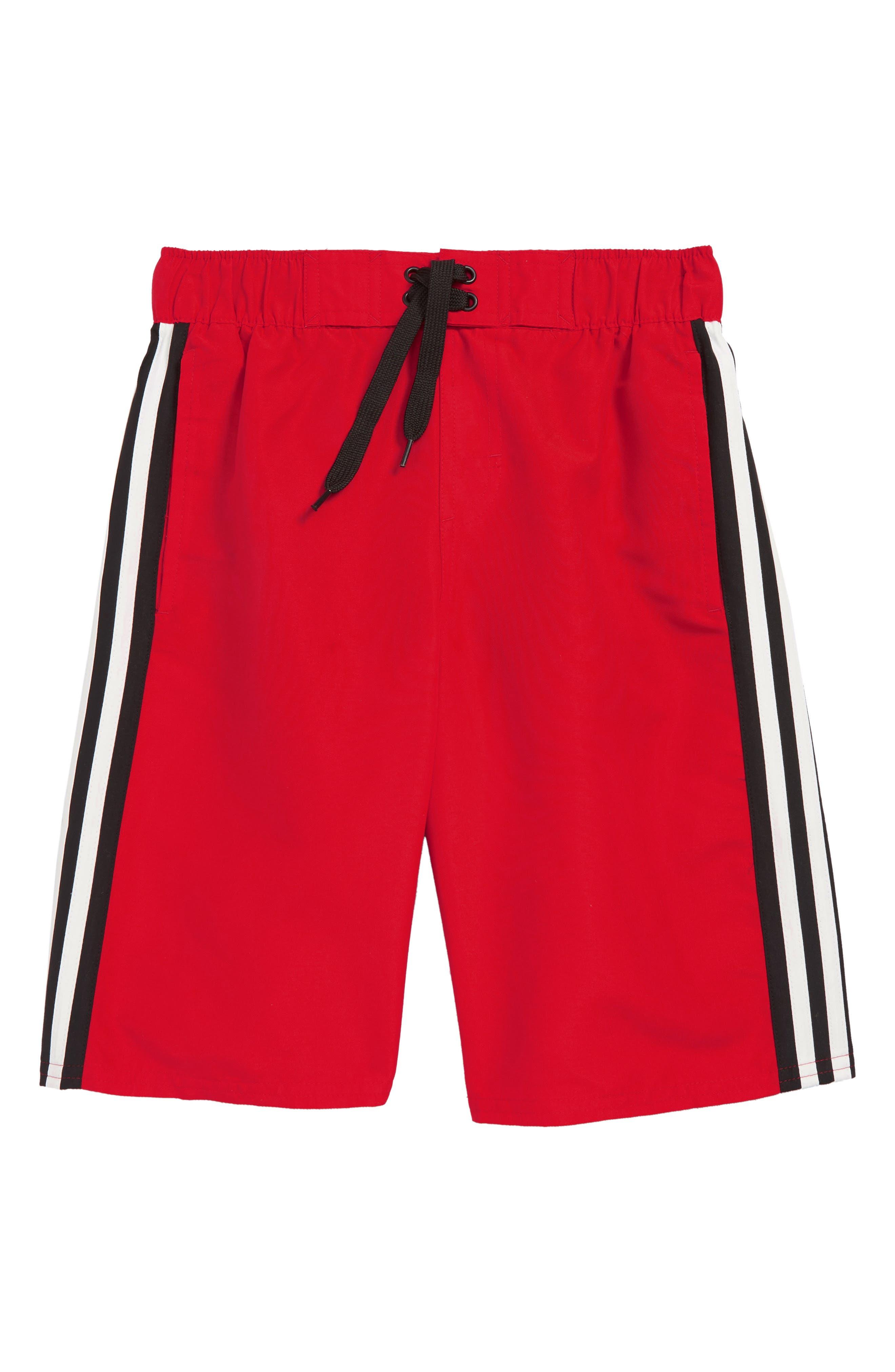ADIDAS ORIGINALS Iconic 3.0 Volley Swim Trunks, Main, color, RED