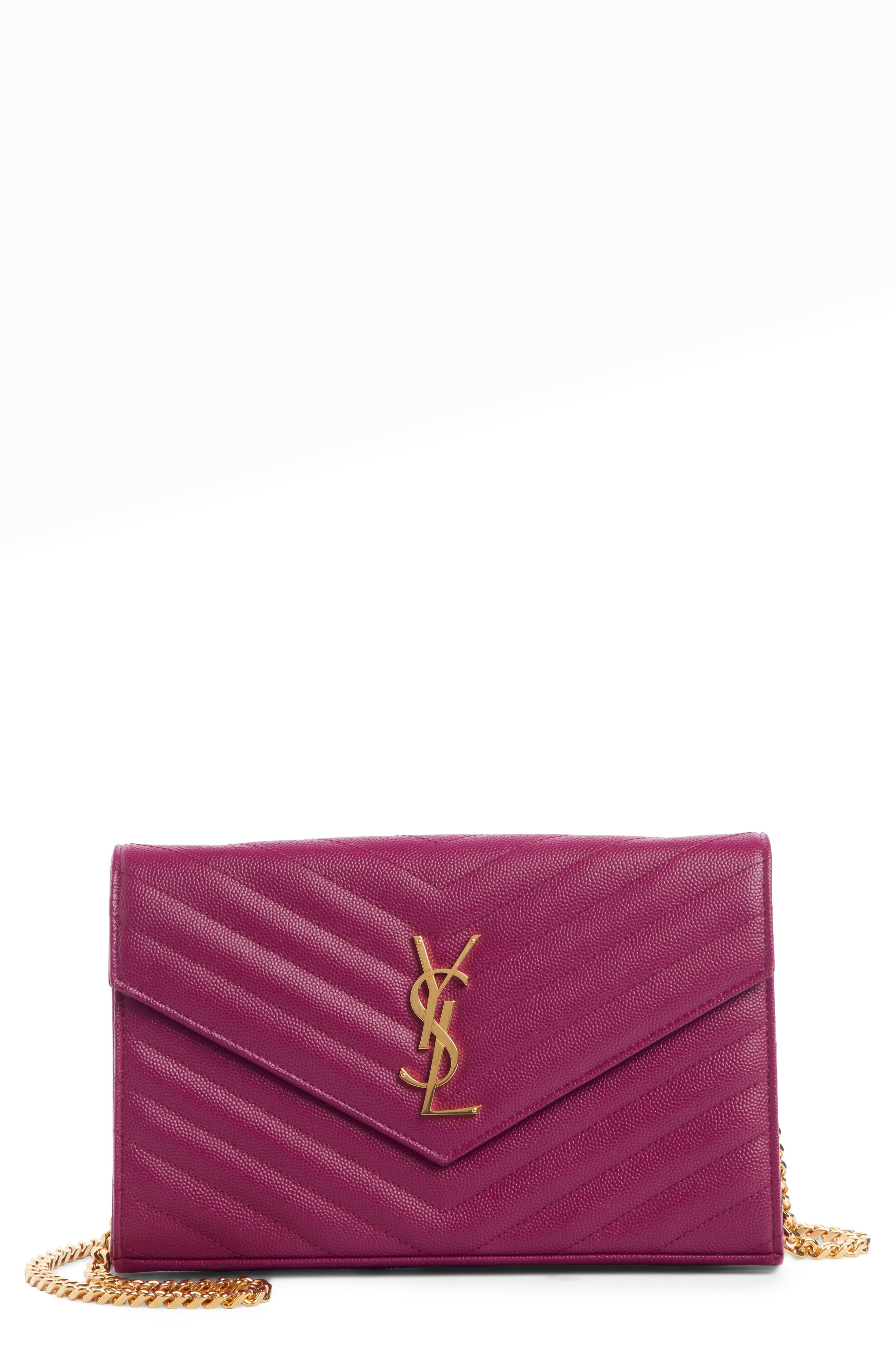 SAINT LAURENT Large Monogram Quilted Leather Wallet on a Chain, Main, color, DARK GRAPE