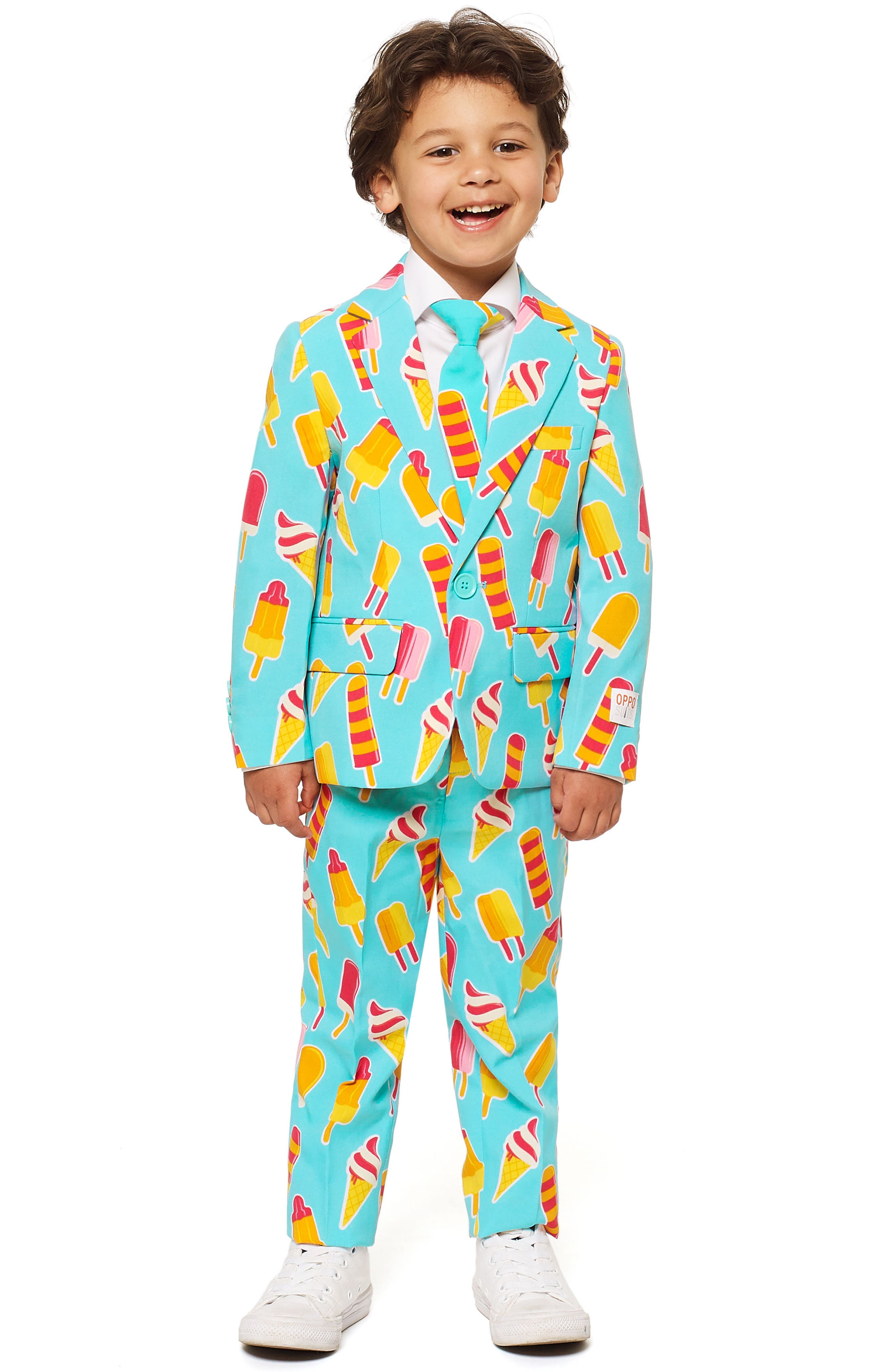 Cool Cones Two-Piece Suit with Tie,                             Main thumbnail 1, color,                             BLUE