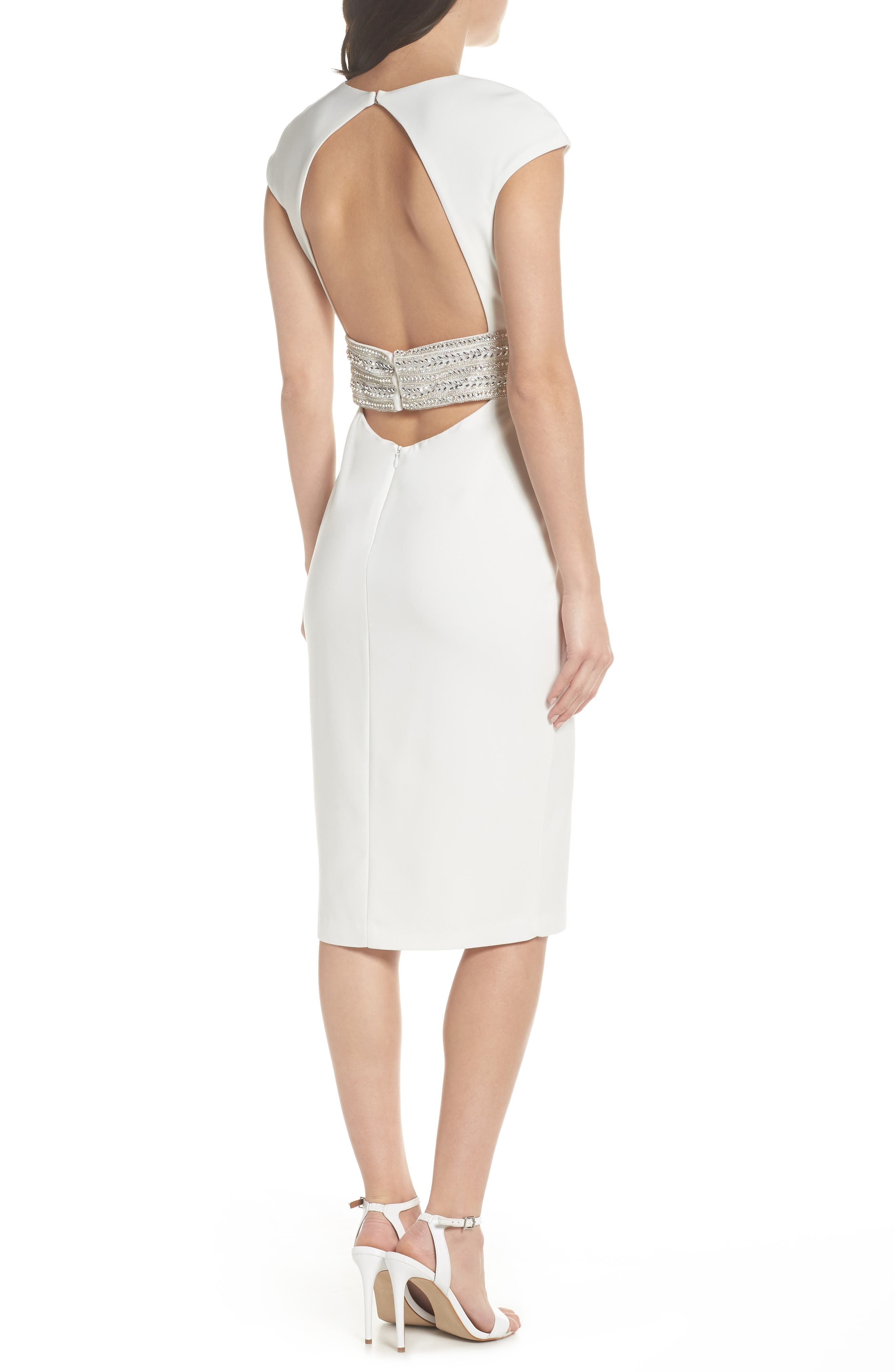Beaded Waist Open Back Dress,                             Alternate thumbnail 2, color,                             IVORY