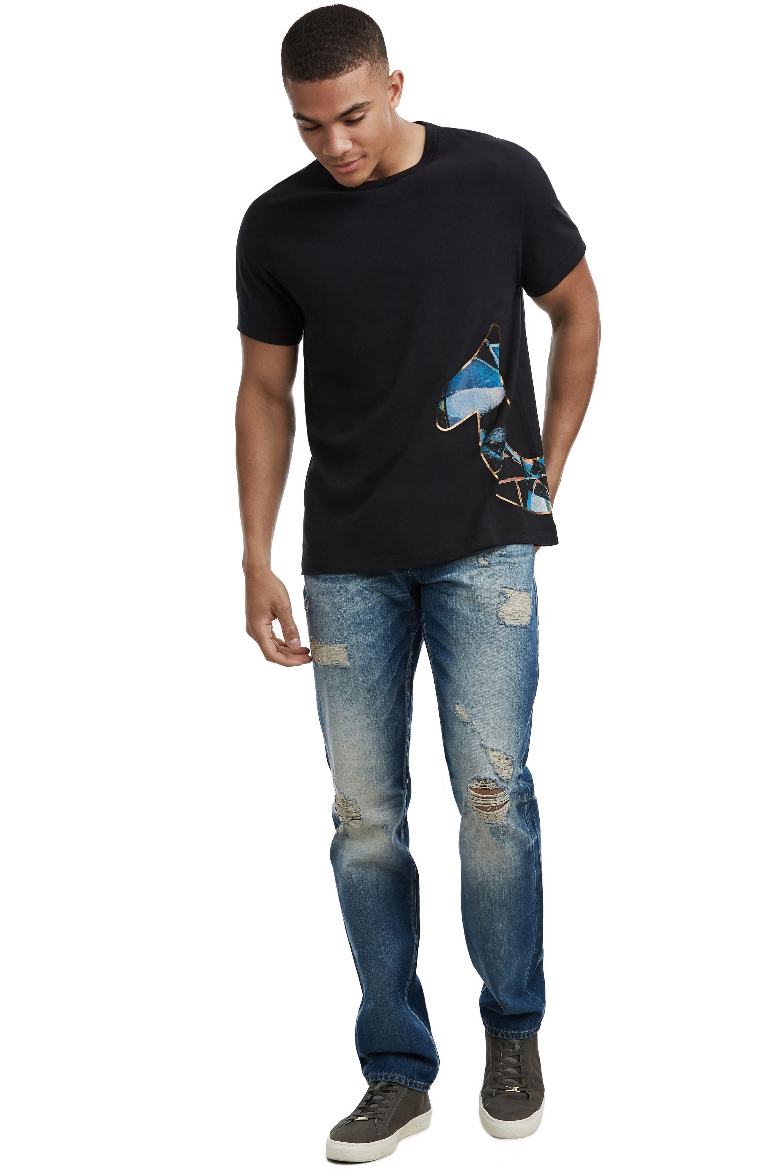 Stained Glass Logo T-Shirt,                             Alternate thumbnail 3, color,                             TRUE BLACK