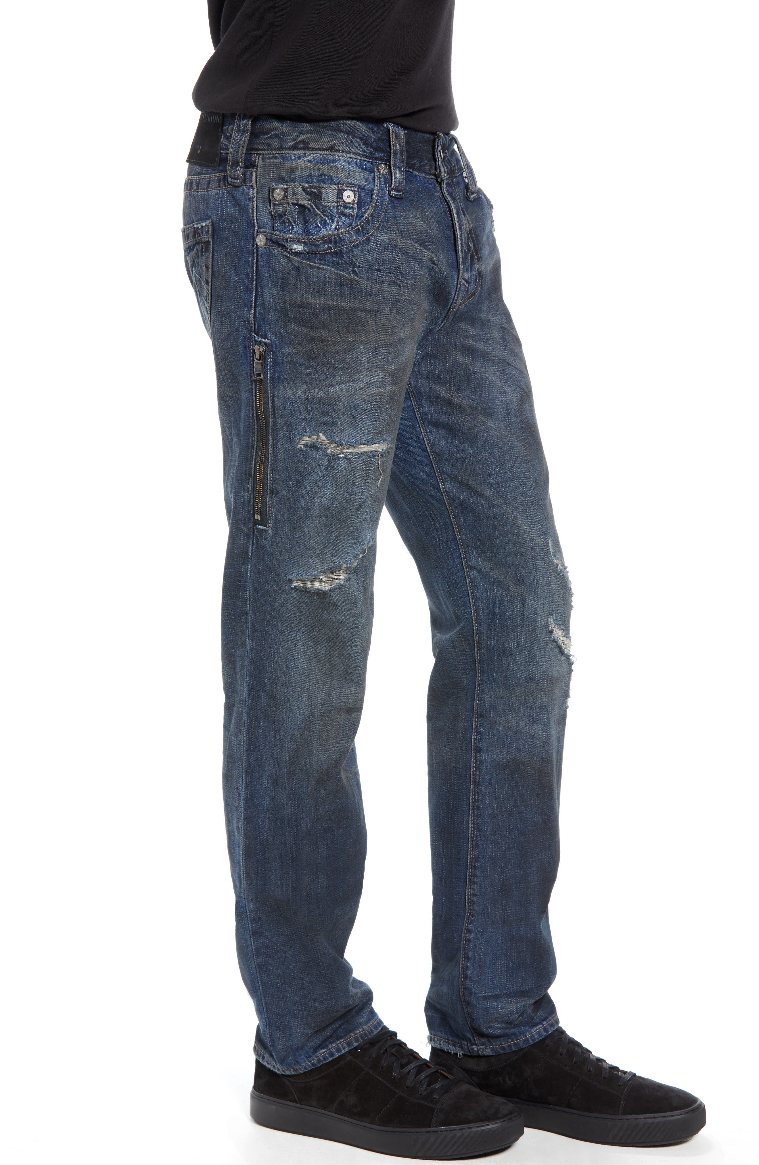 Rocco Distressed Skinny Fit Jeans,                             Alternate thumbnail 3, color,                             MIDNIGHT STORM