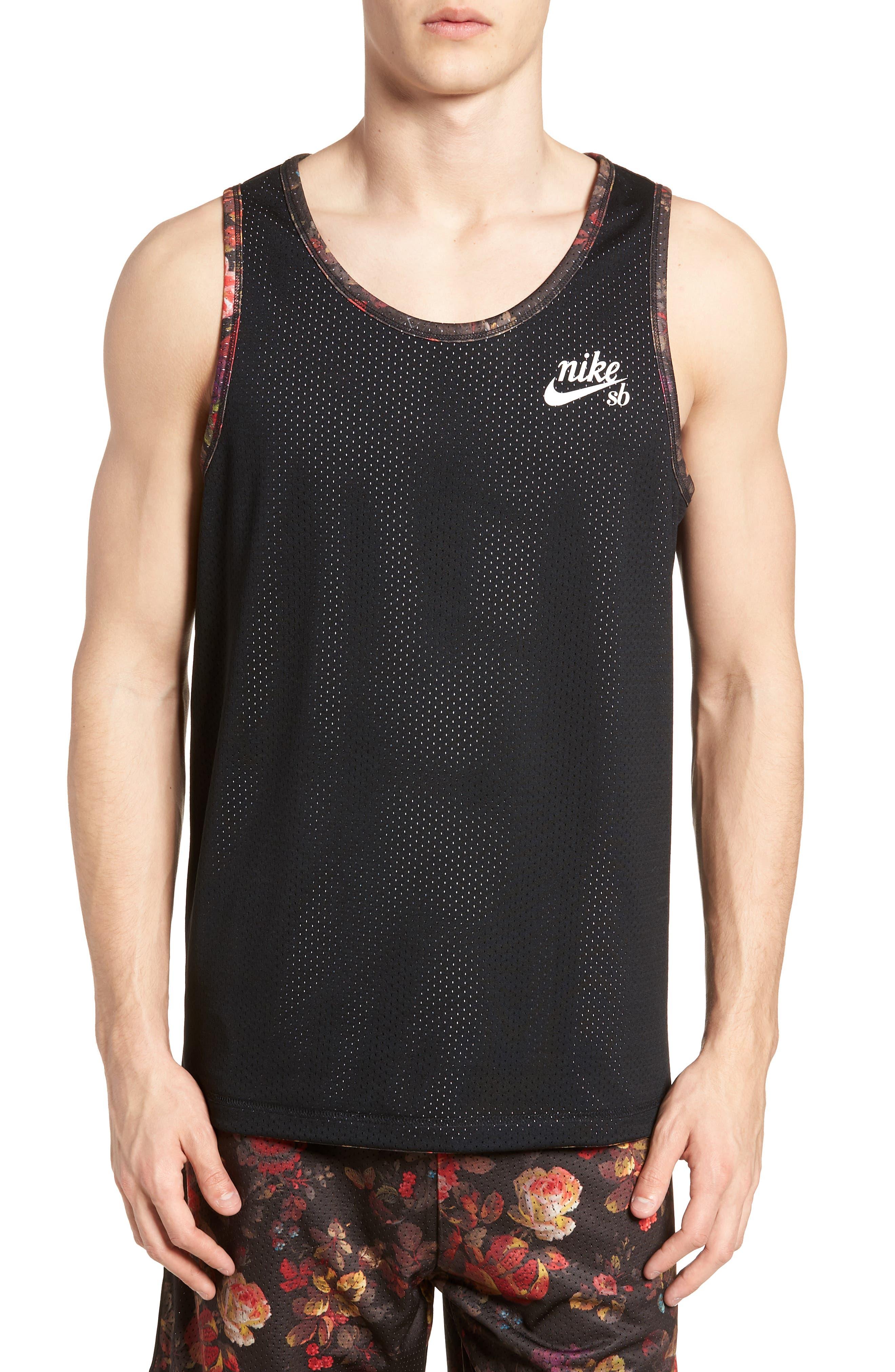 Nike Dry Reversible Floral Mesh Tank,                             Alternate thumbnail 2, color,                             BLACK/ WHITE