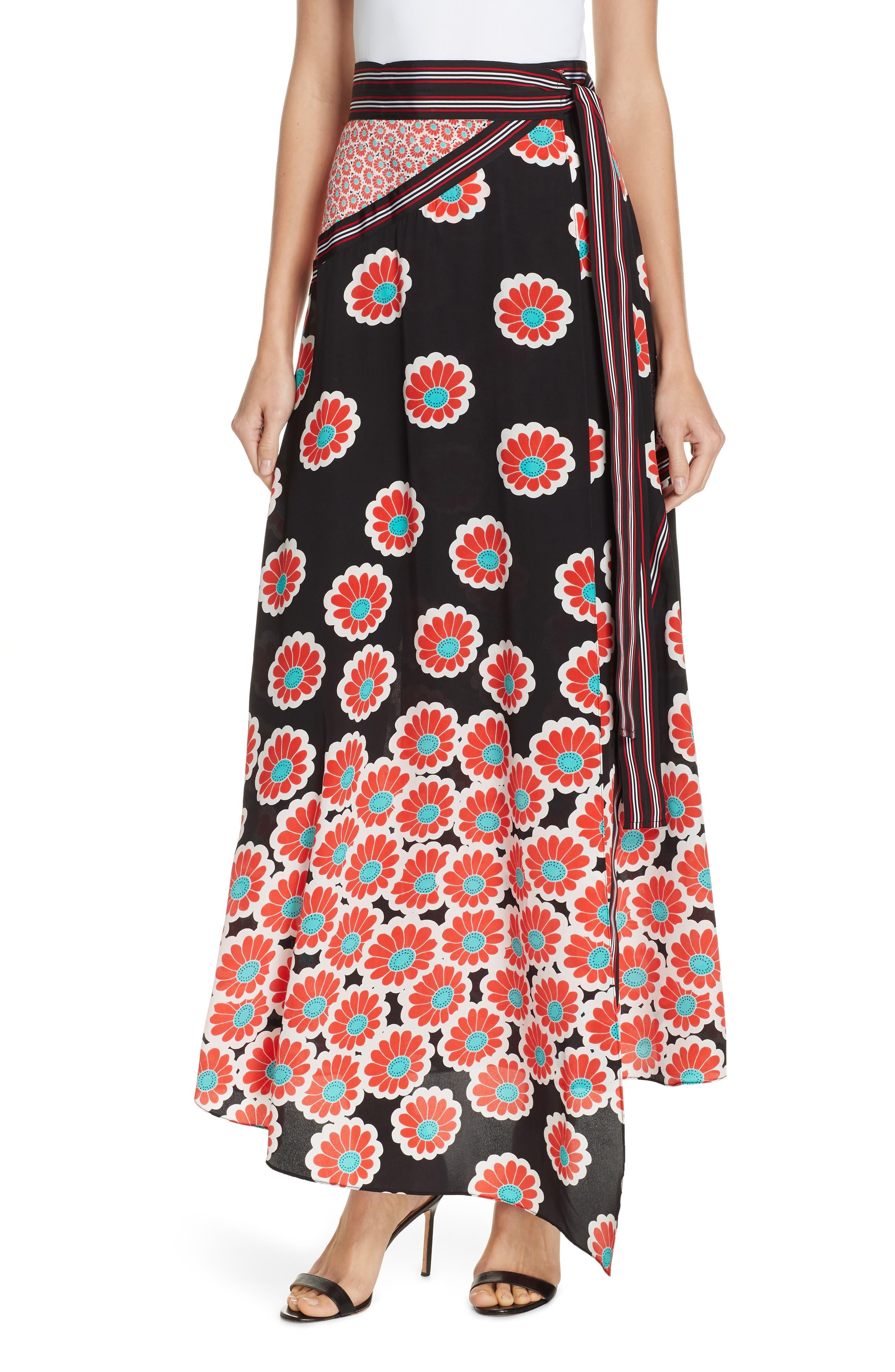 Taylor Wrap Maxi Skirt, Main, color, KIMONO BLOSSOM BLACK MULTI