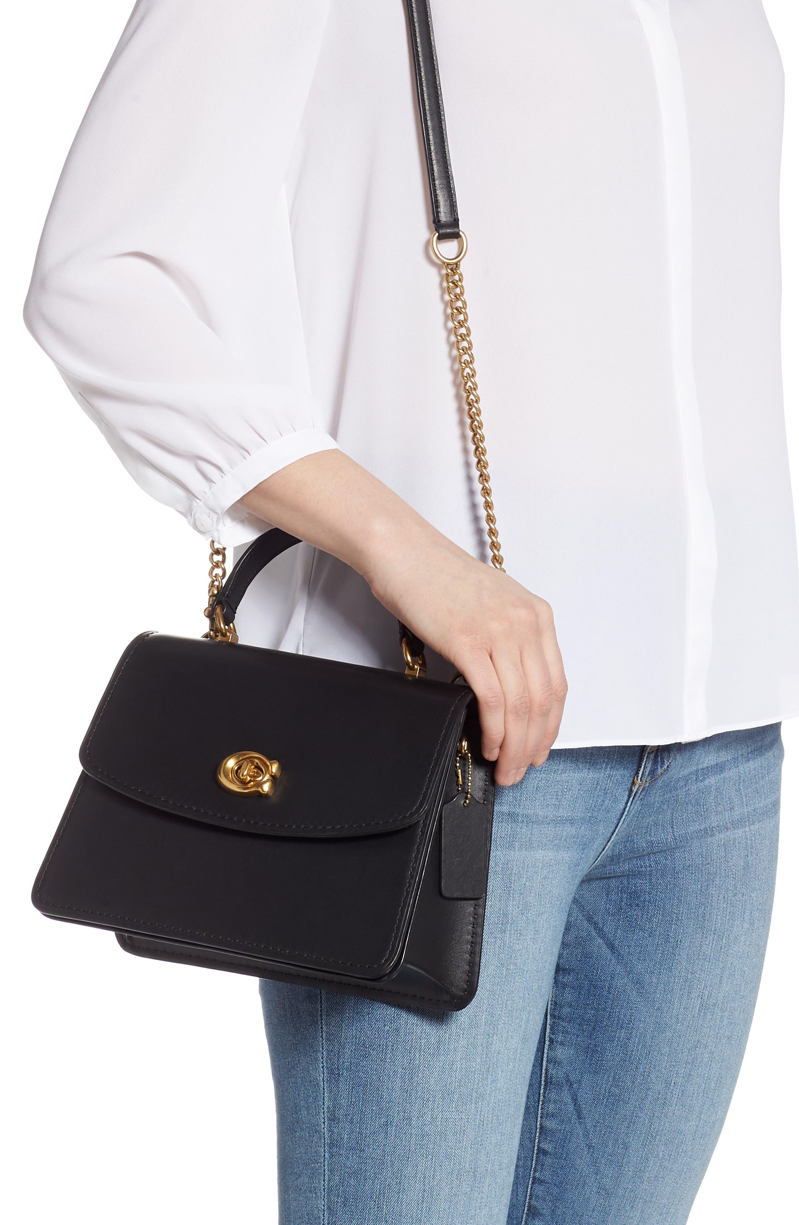 COACH,                             Parker Signature Canvas & Leather Top Handle Shoulder Bag,                             Alternate thumbnail 2, color,                             B4/ BLACK