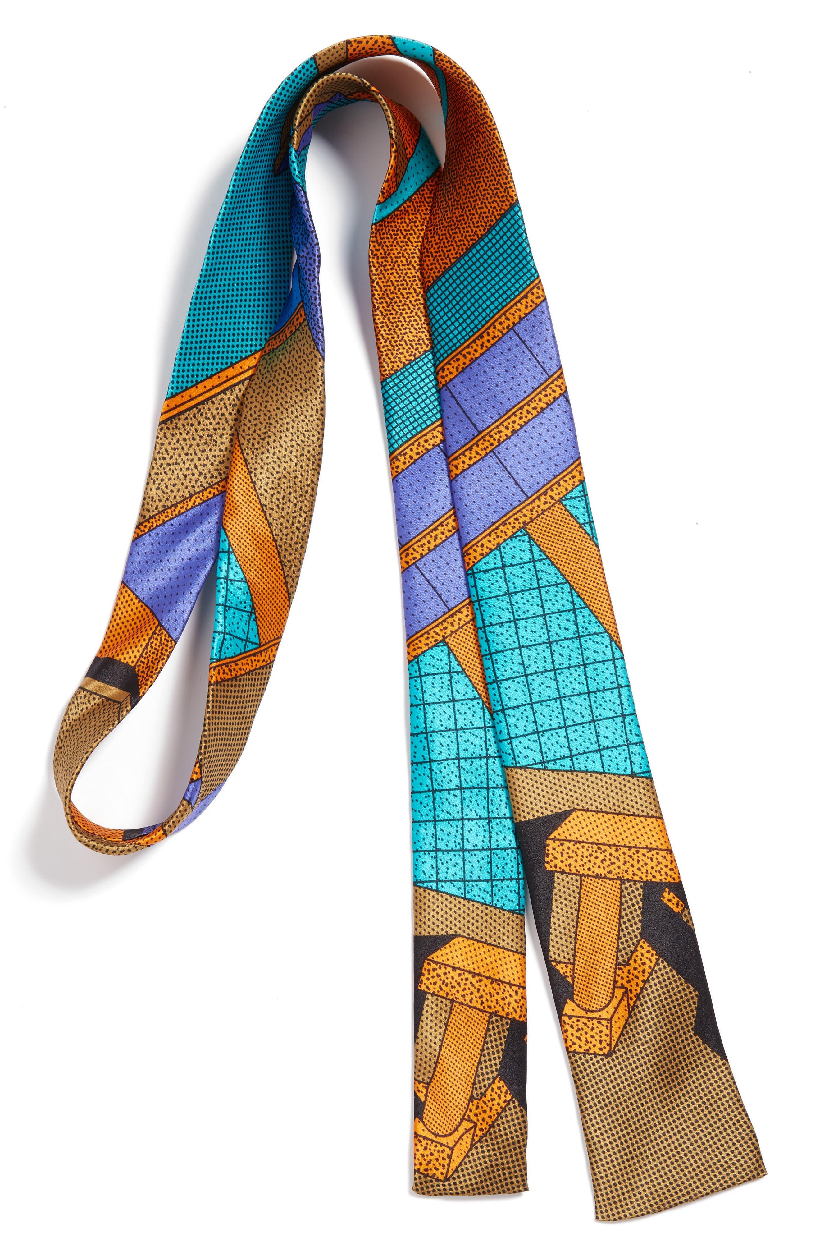 MEMPHIS Milano Teal/Orange Print Silk Tie,                             Main thumbnail 1, color,                             440