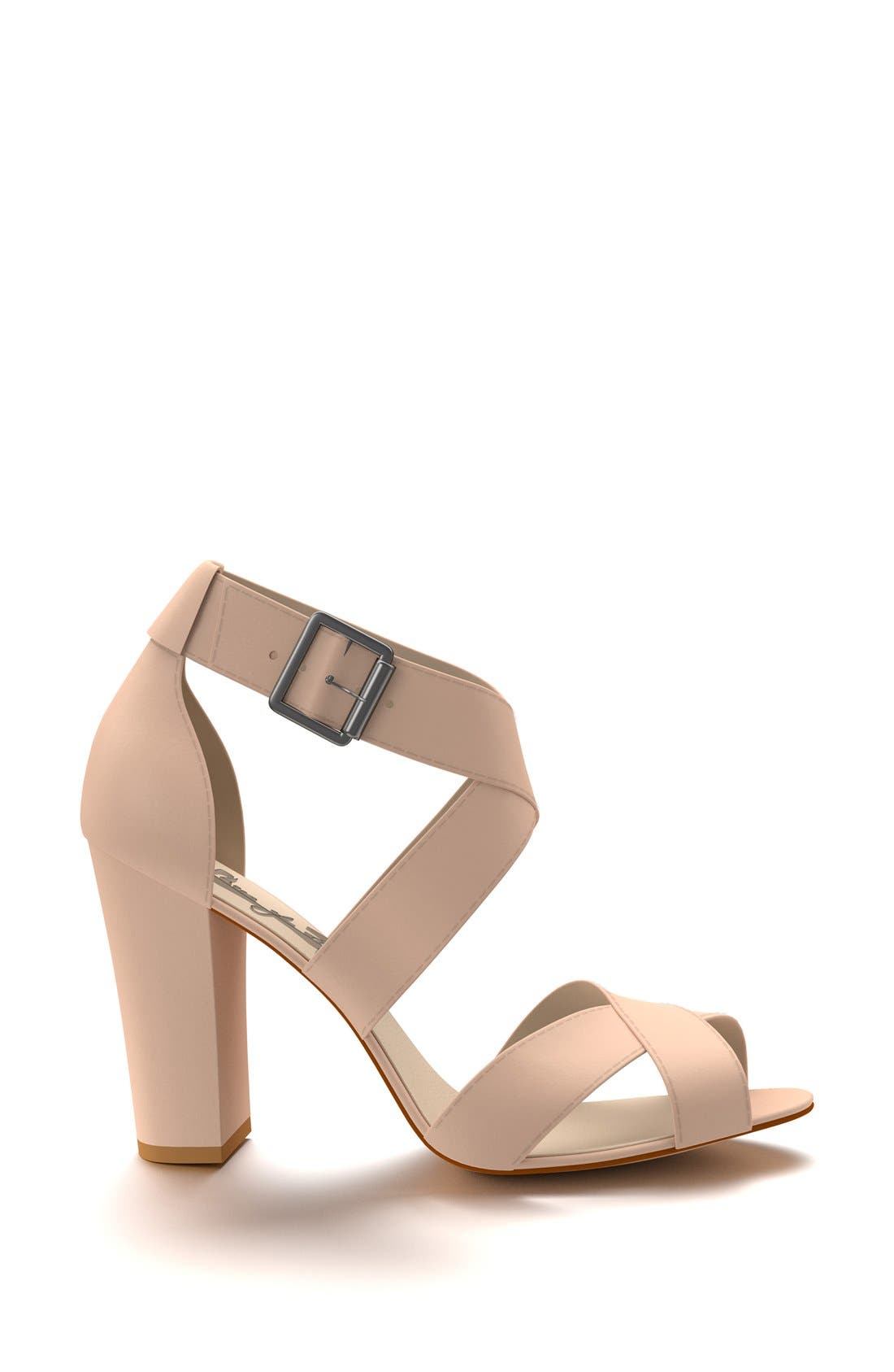 Crisscross Strap Block Heel Sandal,                             Alternate thumbnail 4, color,                             250