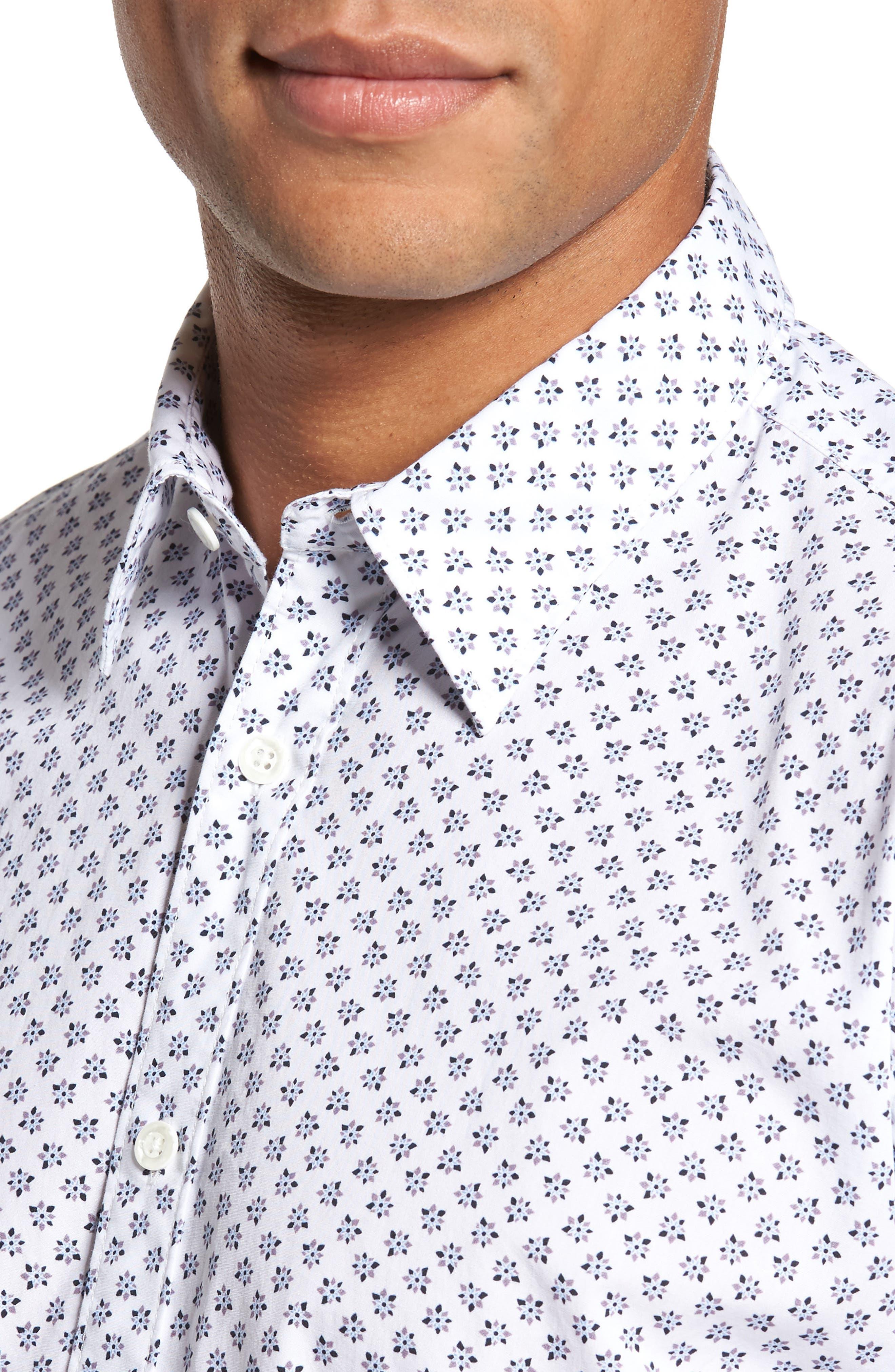 Santo Regular Fit Print Sport Shirt,                             Alternate thumbnail 4, color,                             001