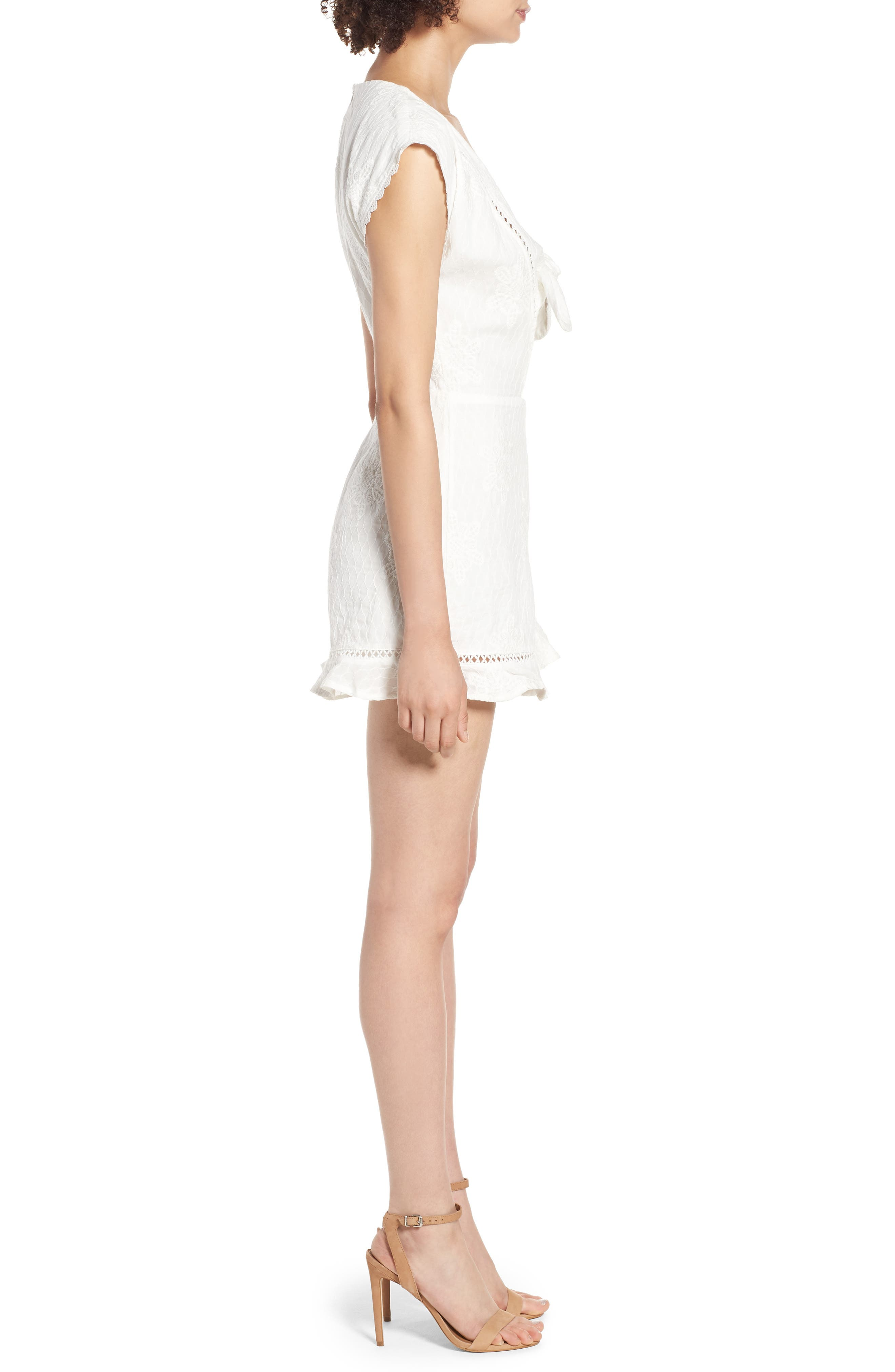 Tie Front Embroidered Romper,                             Alternate thumbnail 3, color,                             100