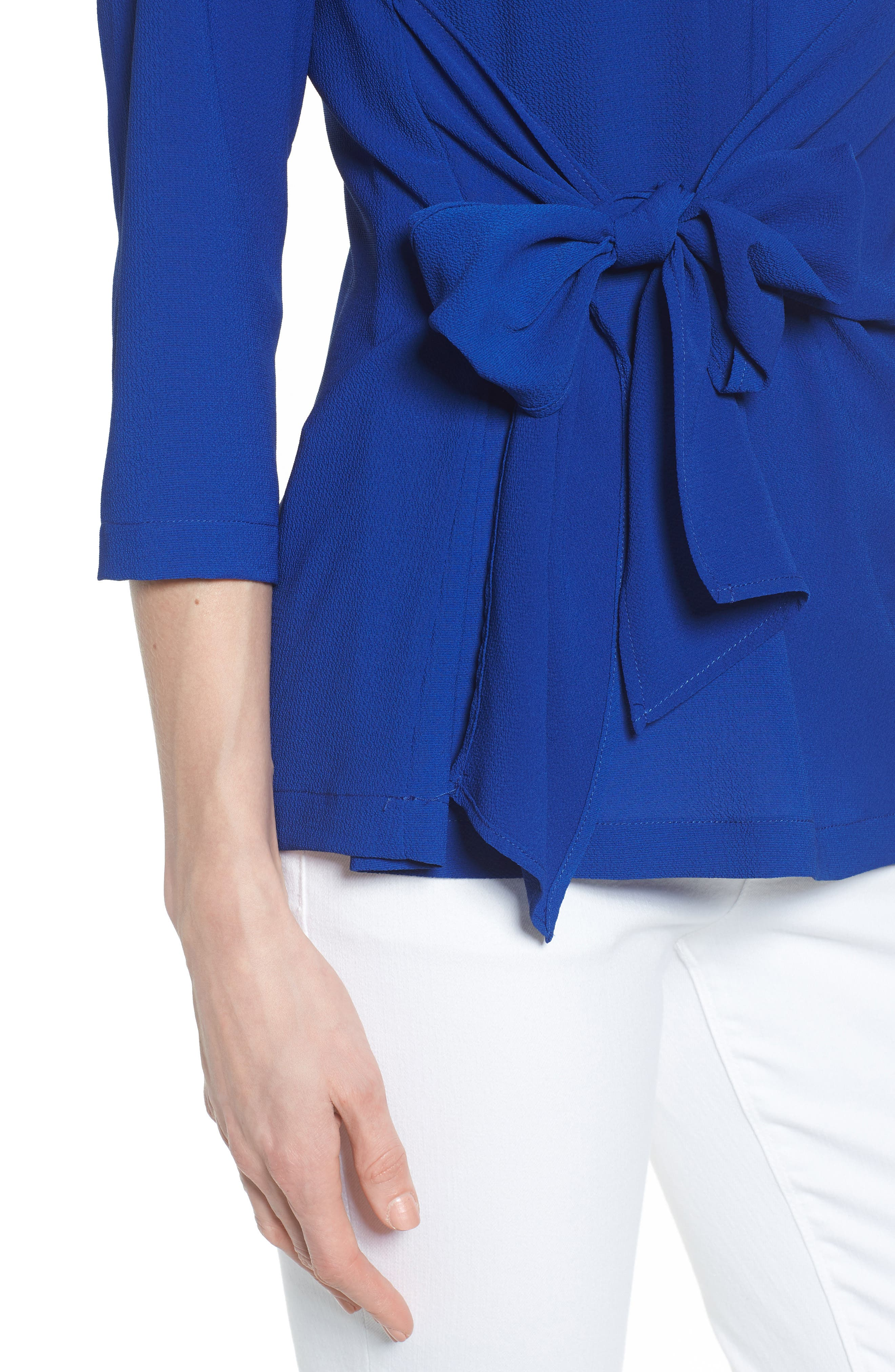Tie Front Crepe Top,                             Alternate thumbnail 4, color,                             NEON ROYAL