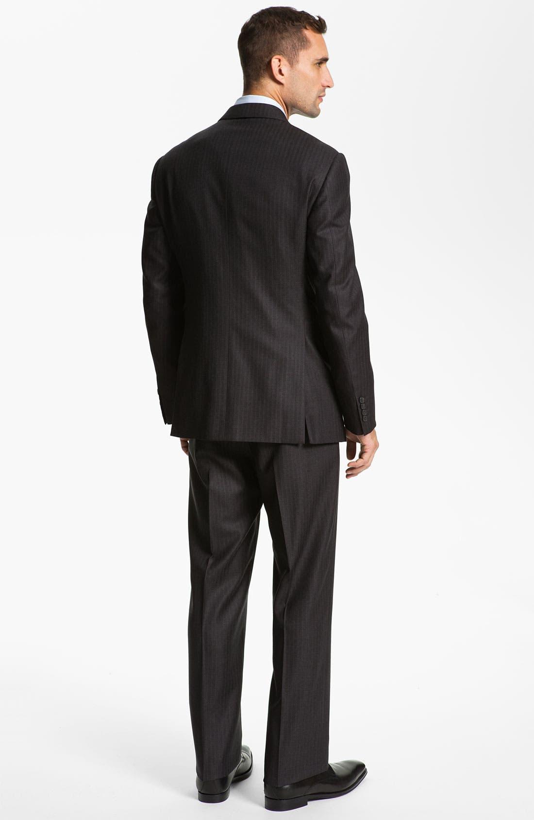 Armani Collezioni 'Giorgio' Trim Fit Stripe Suit,                             Alternate thumbnail 5, color,                             024