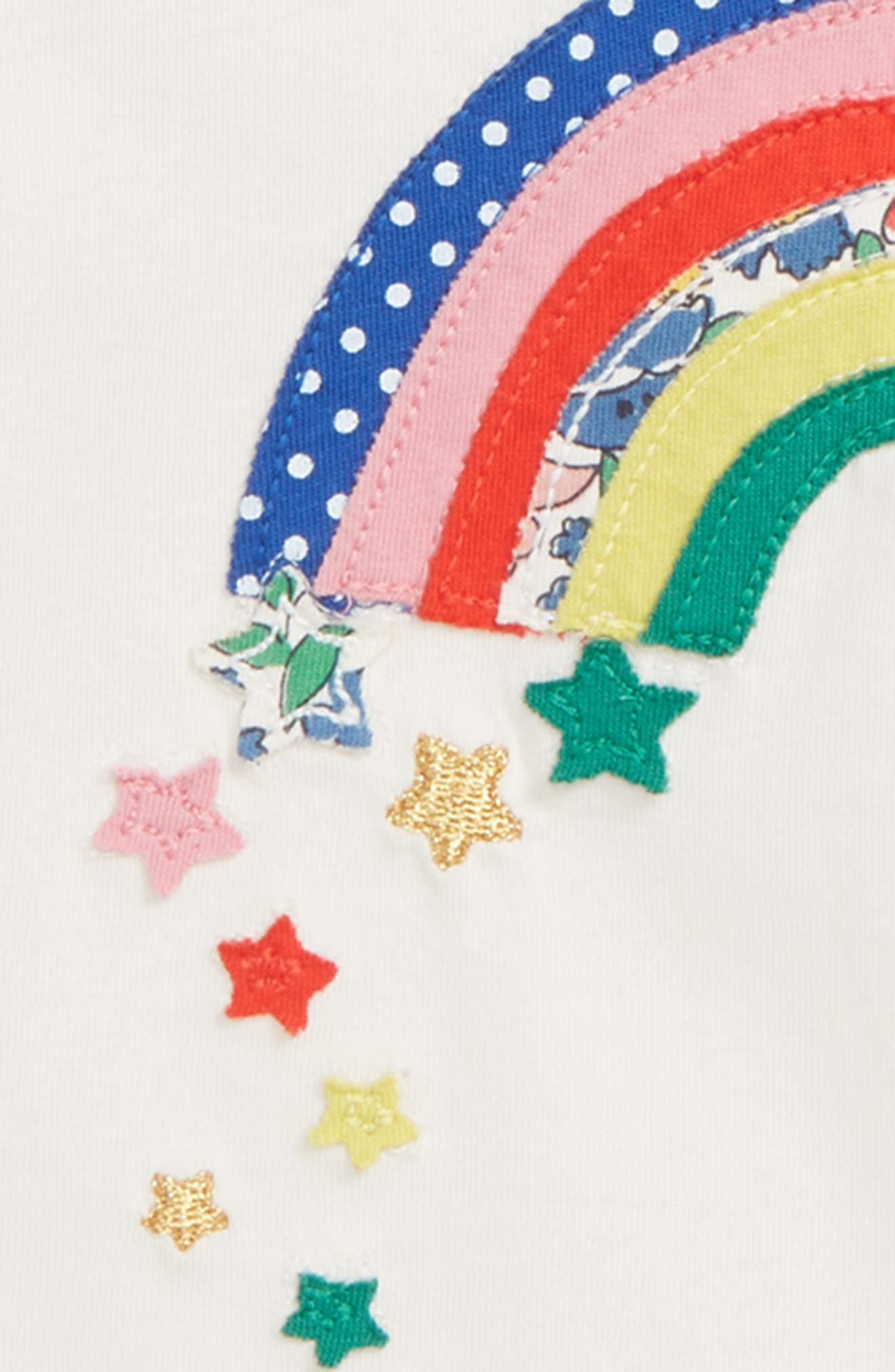 Rainbow Appliqué Raglan Shirt,                             Alternate thumbnail 2, color,                             ECRU RAINBOW