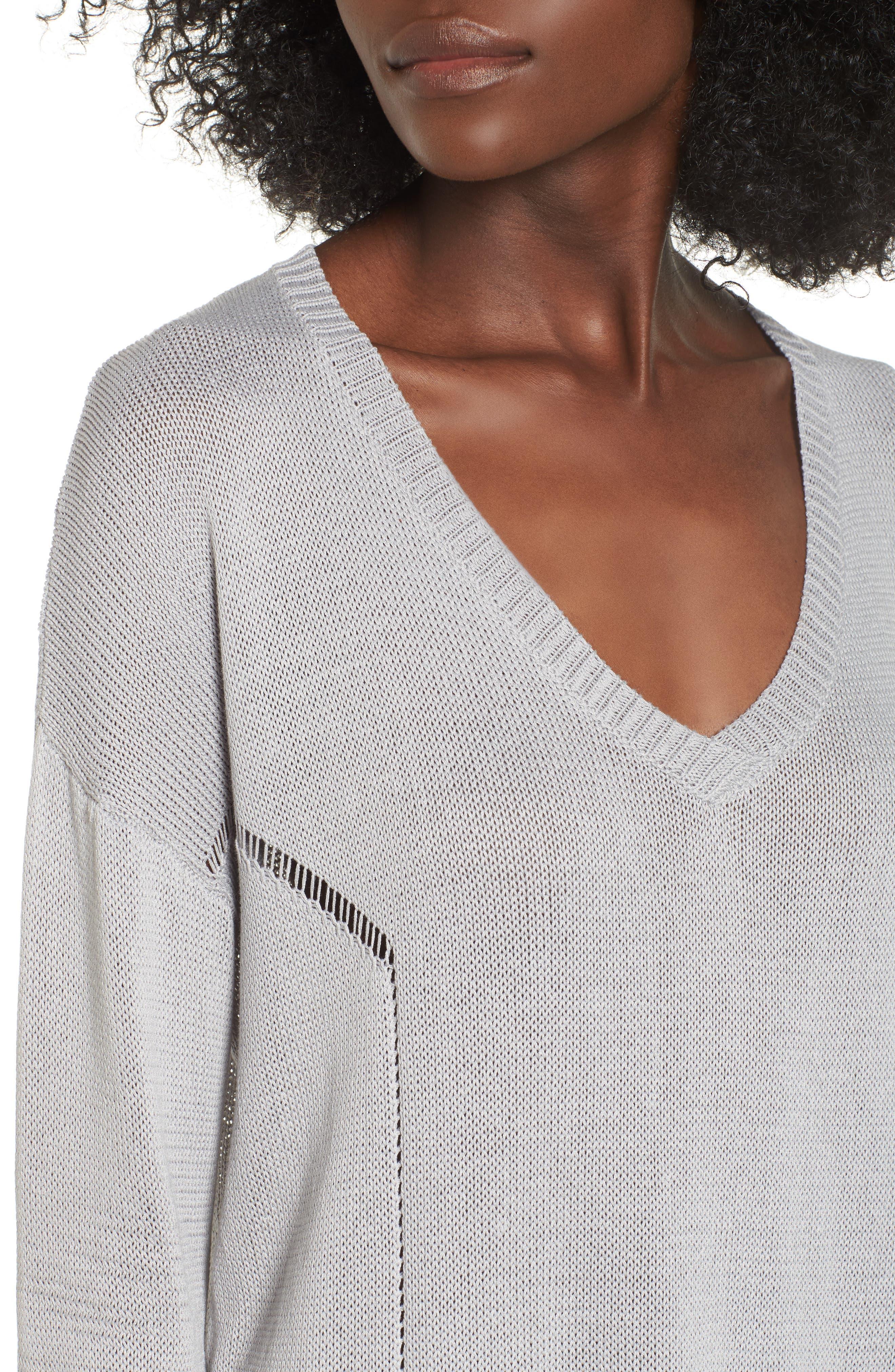 Open Lines V-Neck Sweater,                             Alternate thumbnail 4, color,                             020