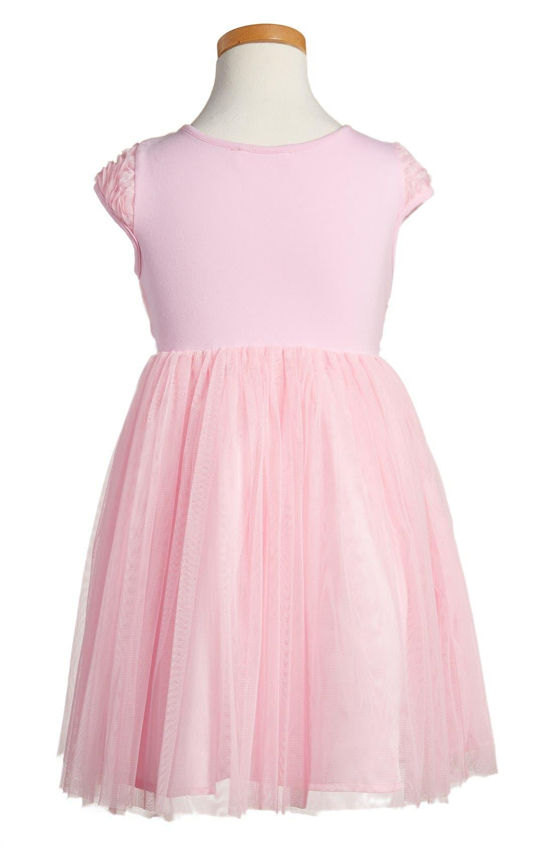 Ribbon Rosette Tulle Dress,                             Alternate thumbnail 2, color,                             PINK