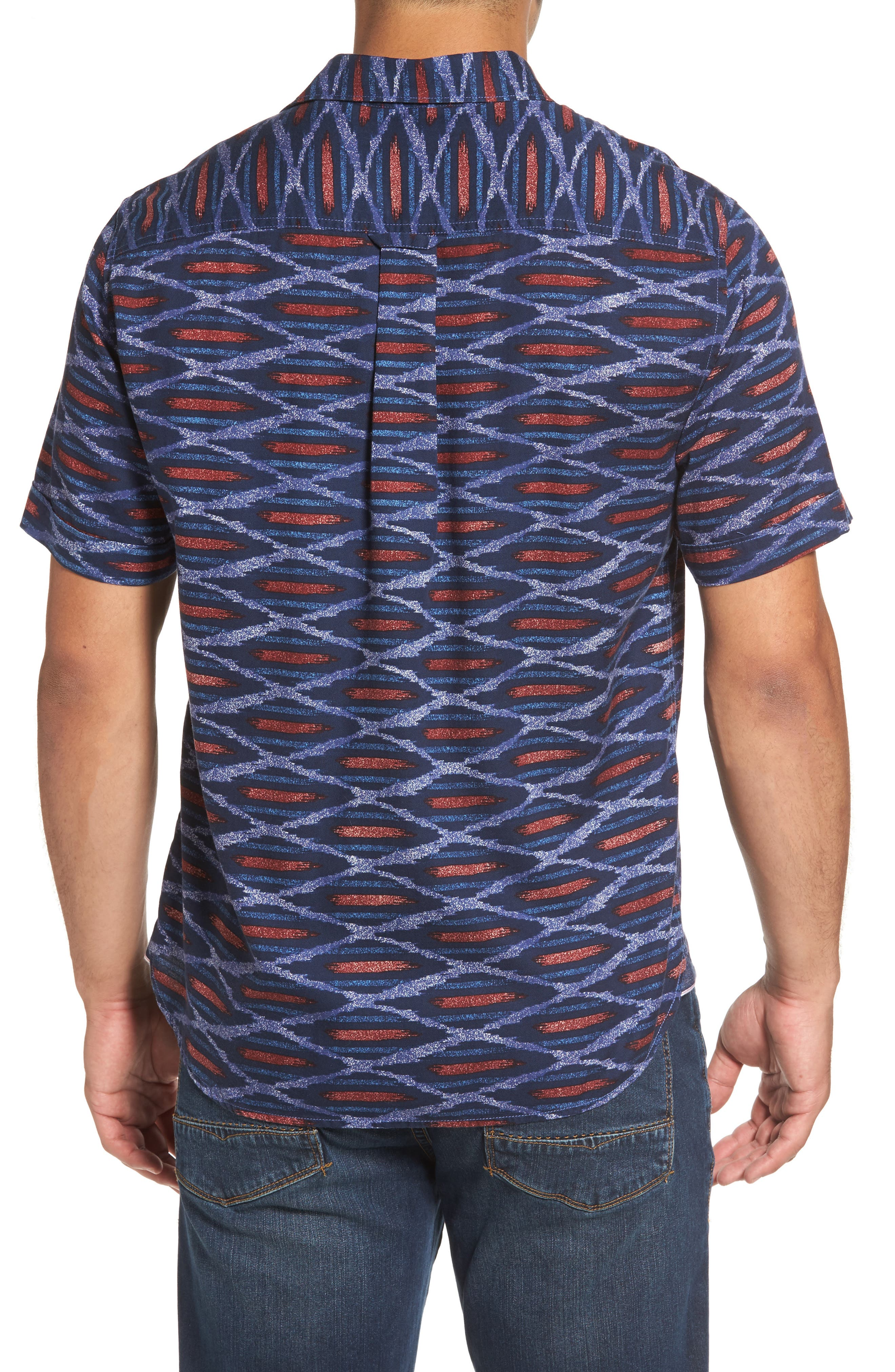 Island Ikat Standard Fit Geo Print Woven Shirt,                             Alternate thumbnail 2, color,                             401
