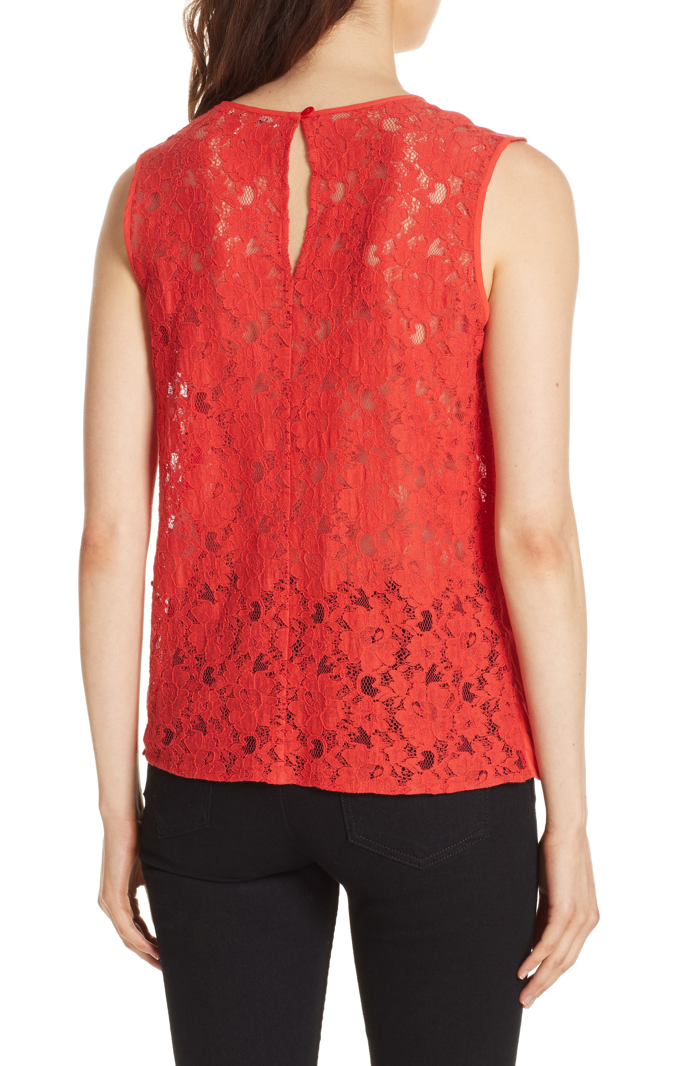 Mixed Media Lace Back Tank,                             Alternate thumbnail 2, color,                             CORAL RED