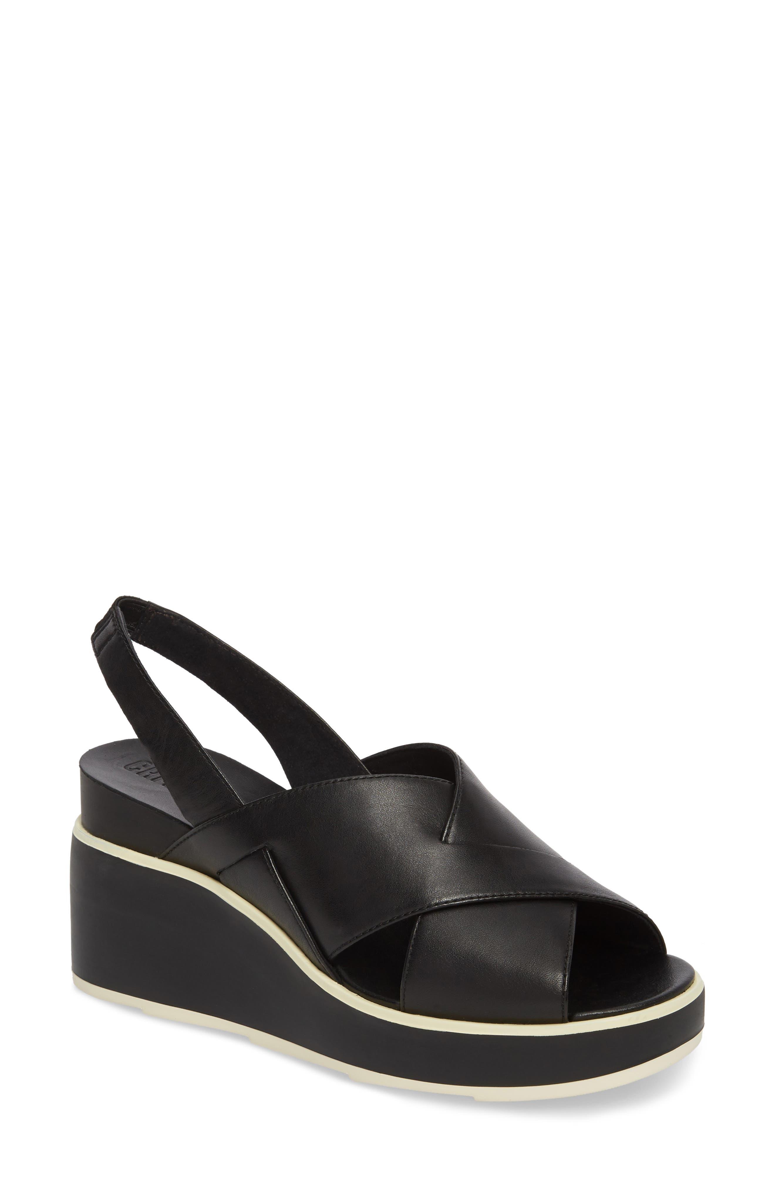 Tropik Cross Strap Wedge Sandal,                         Main,                         color, BLACK LEATHER
