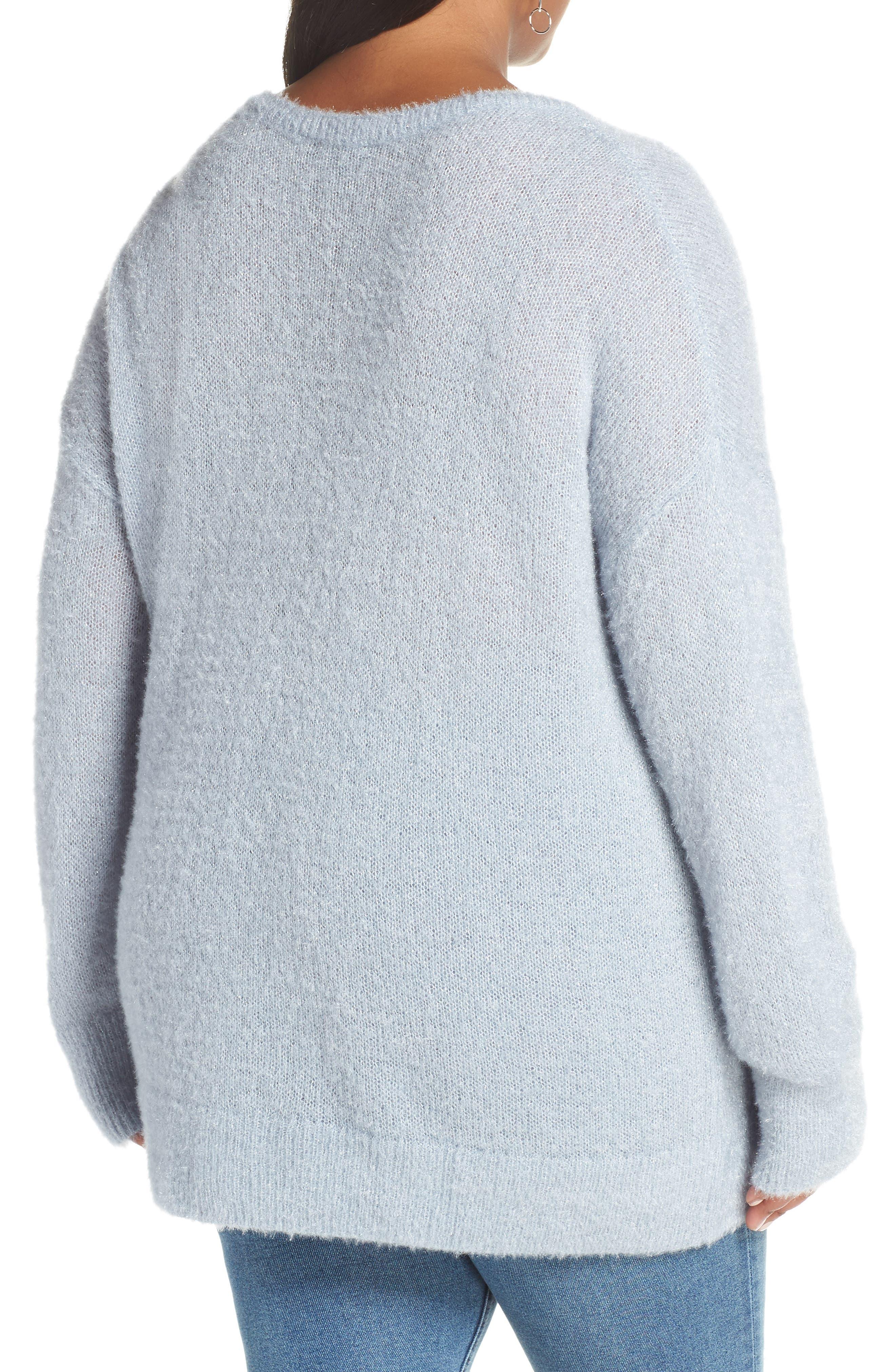Fuzzy V-Neck Sweater,                             Alternate thumbnail 2, color,                             BLUE FOG
