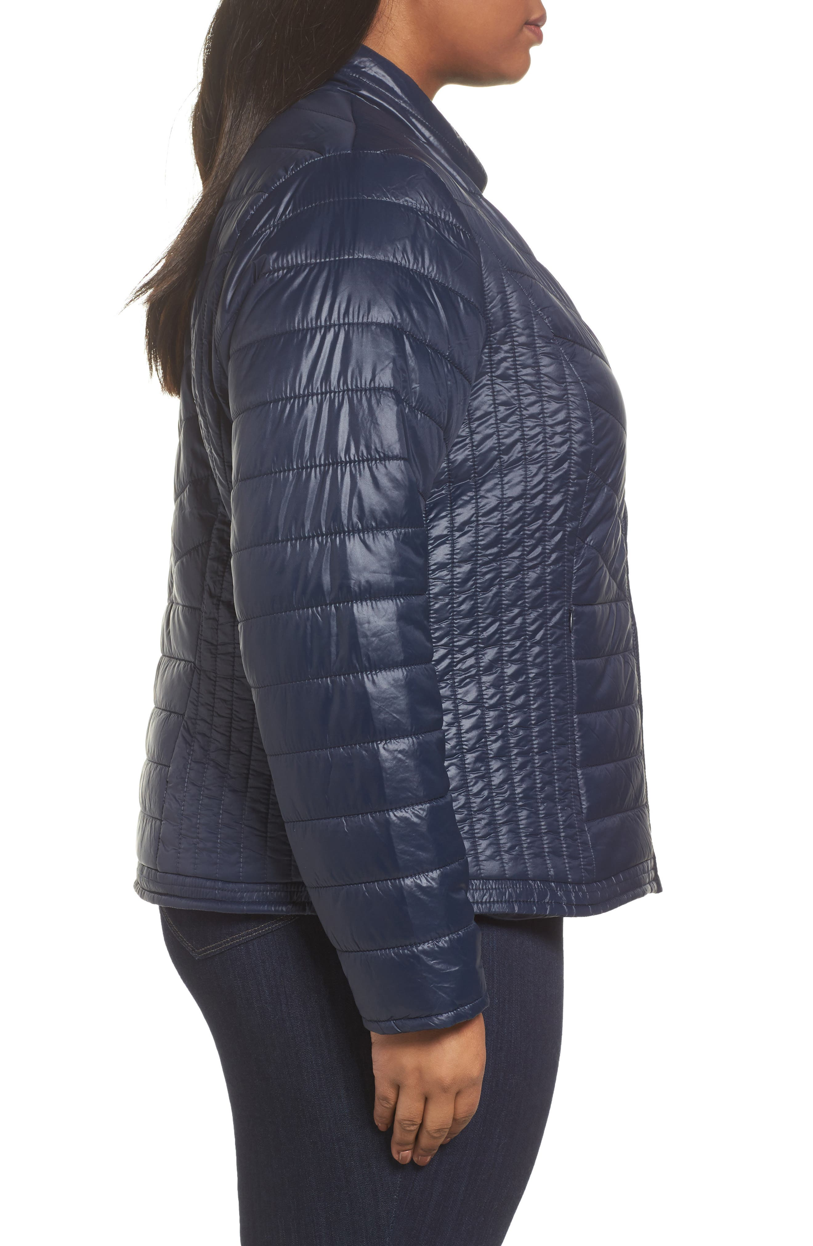 Twisted Quilted Puffer Jacket,                             Alternate thumbnail 3, color,                             411