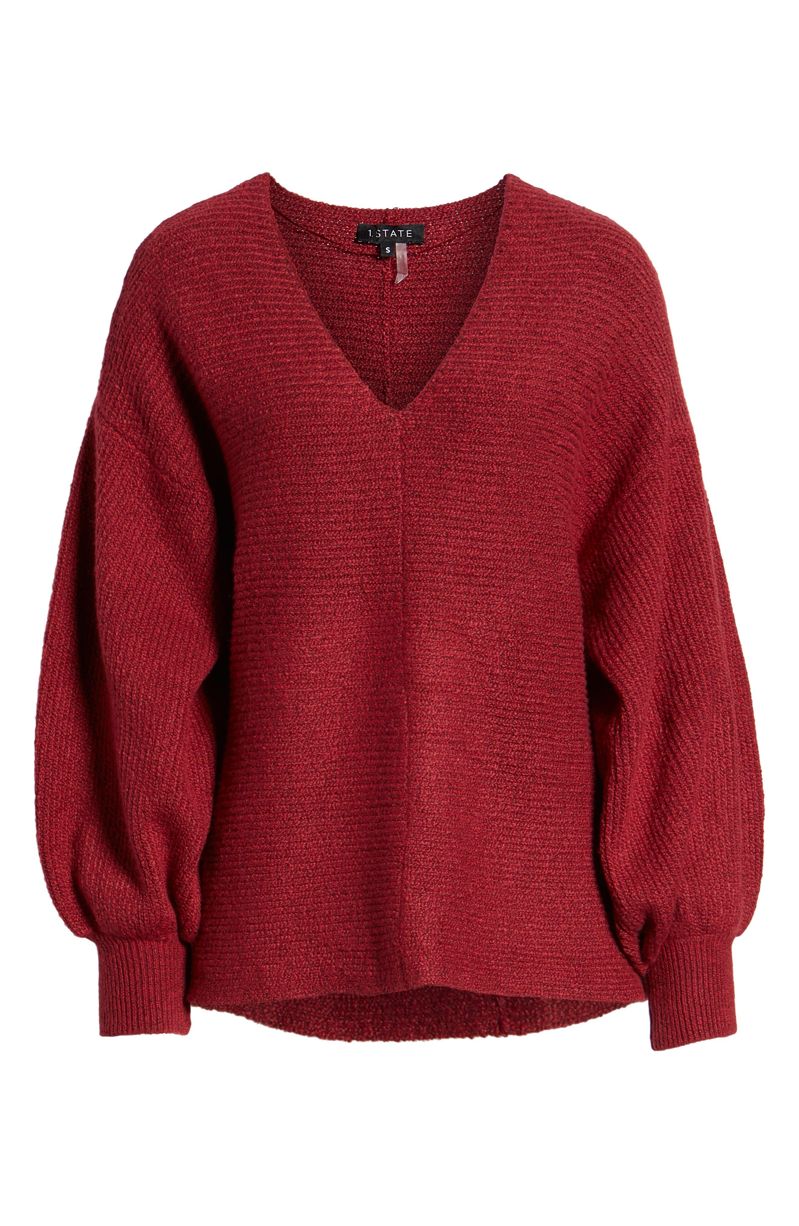 Blouson Sleeve V-Neck Sweater,                             Alternate thumbnail 6, color,                             641