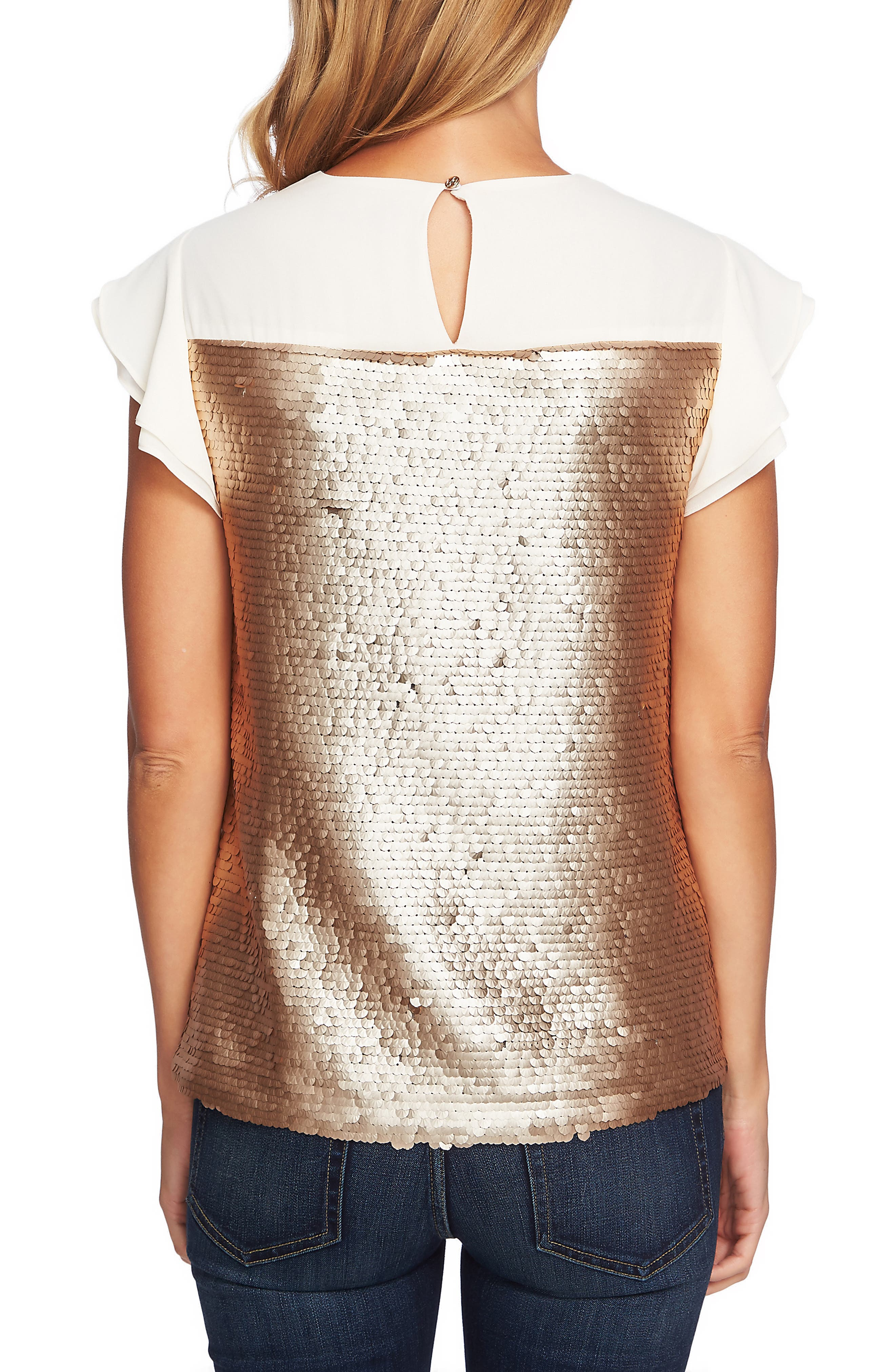 Sequin Flutter Sleeve Top,                             Alternate thumbnail 2, color,                             710
