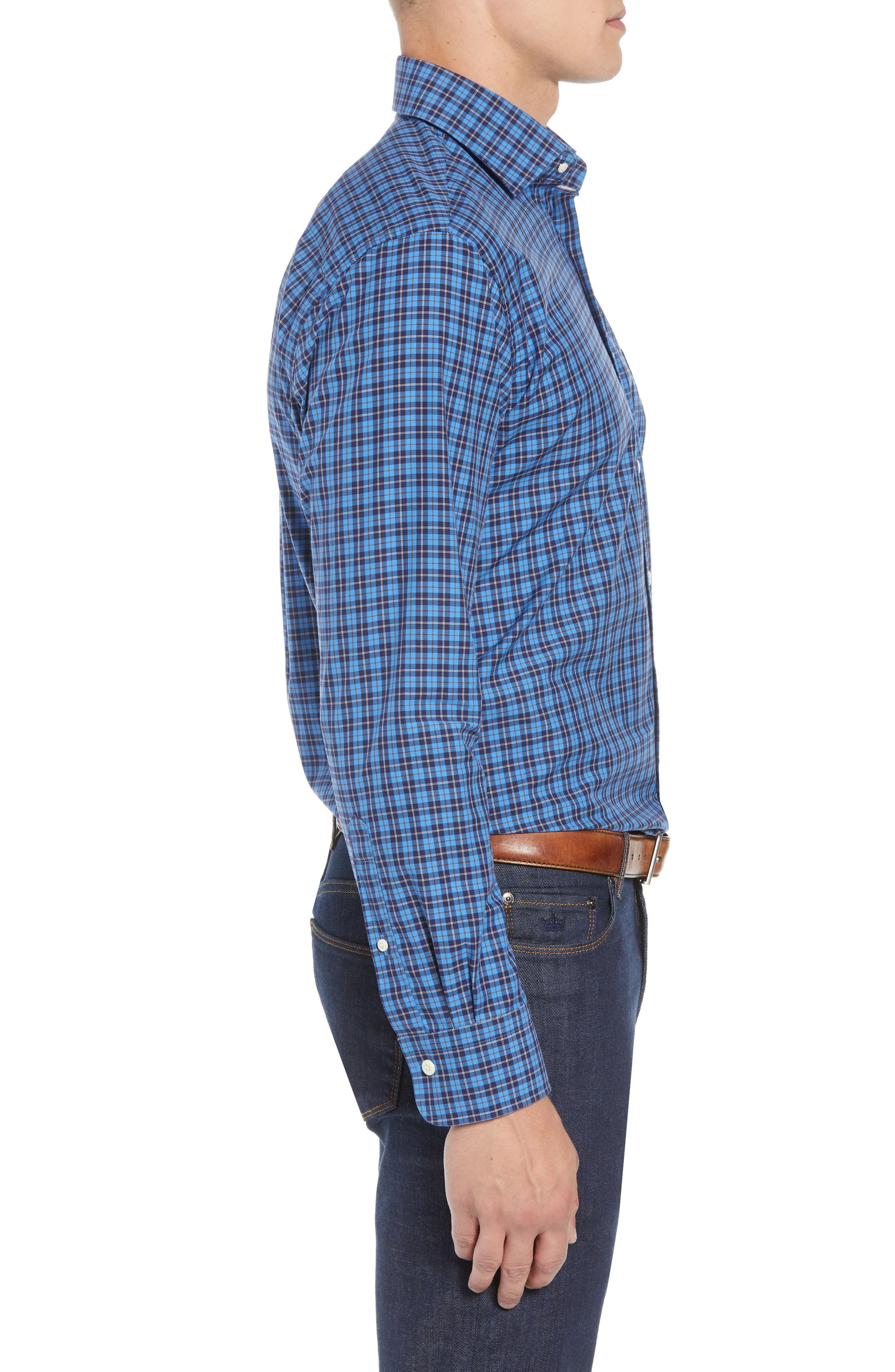 Northgate Plaid Sport Shirt,                             Alternate thumbnail 4, color,                             MARINA BLUE