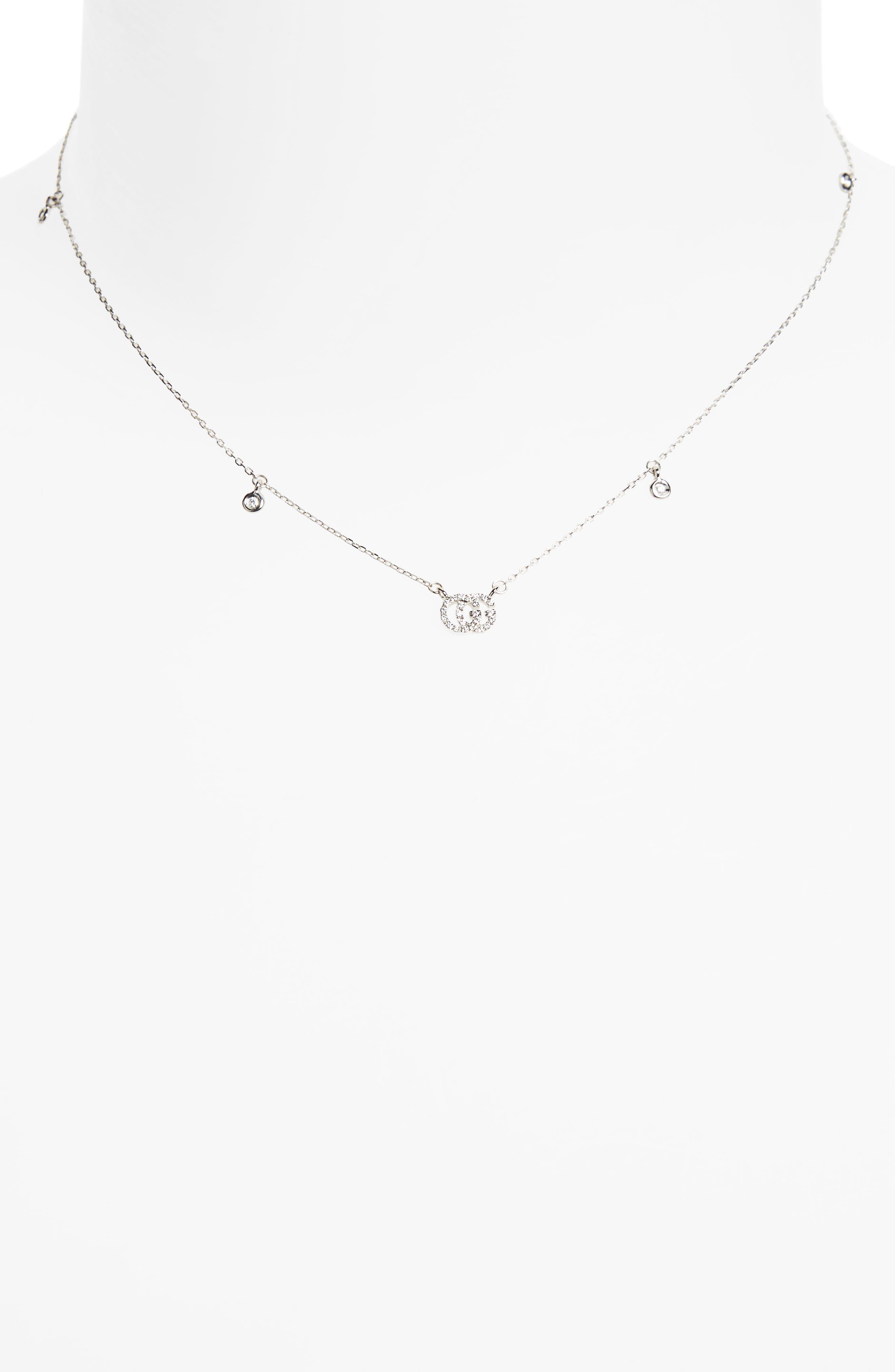Double-G Diamond Pendant Necklace,                             Alternate thumbnail 2, color,                             WHITE GOLD
