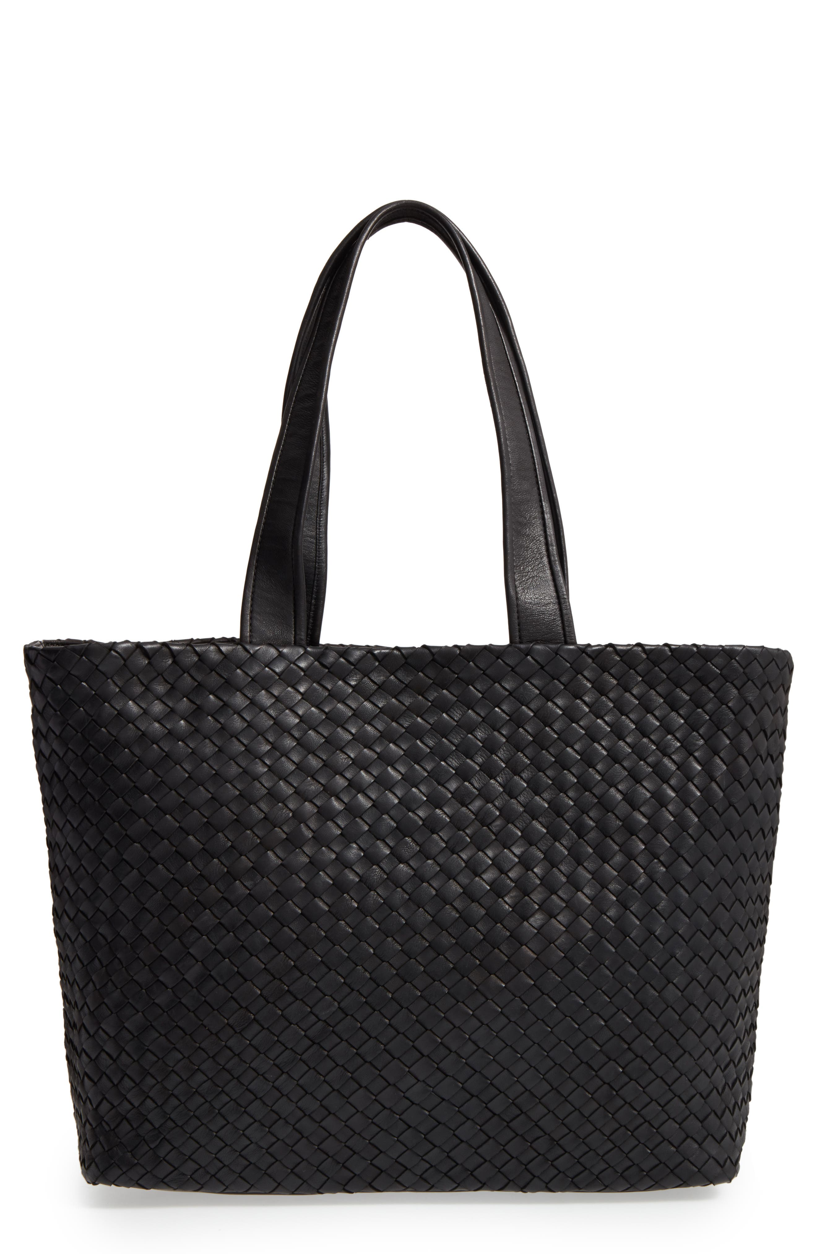 ROBERT ZUR Rina Leather Tote, Main, color, 001