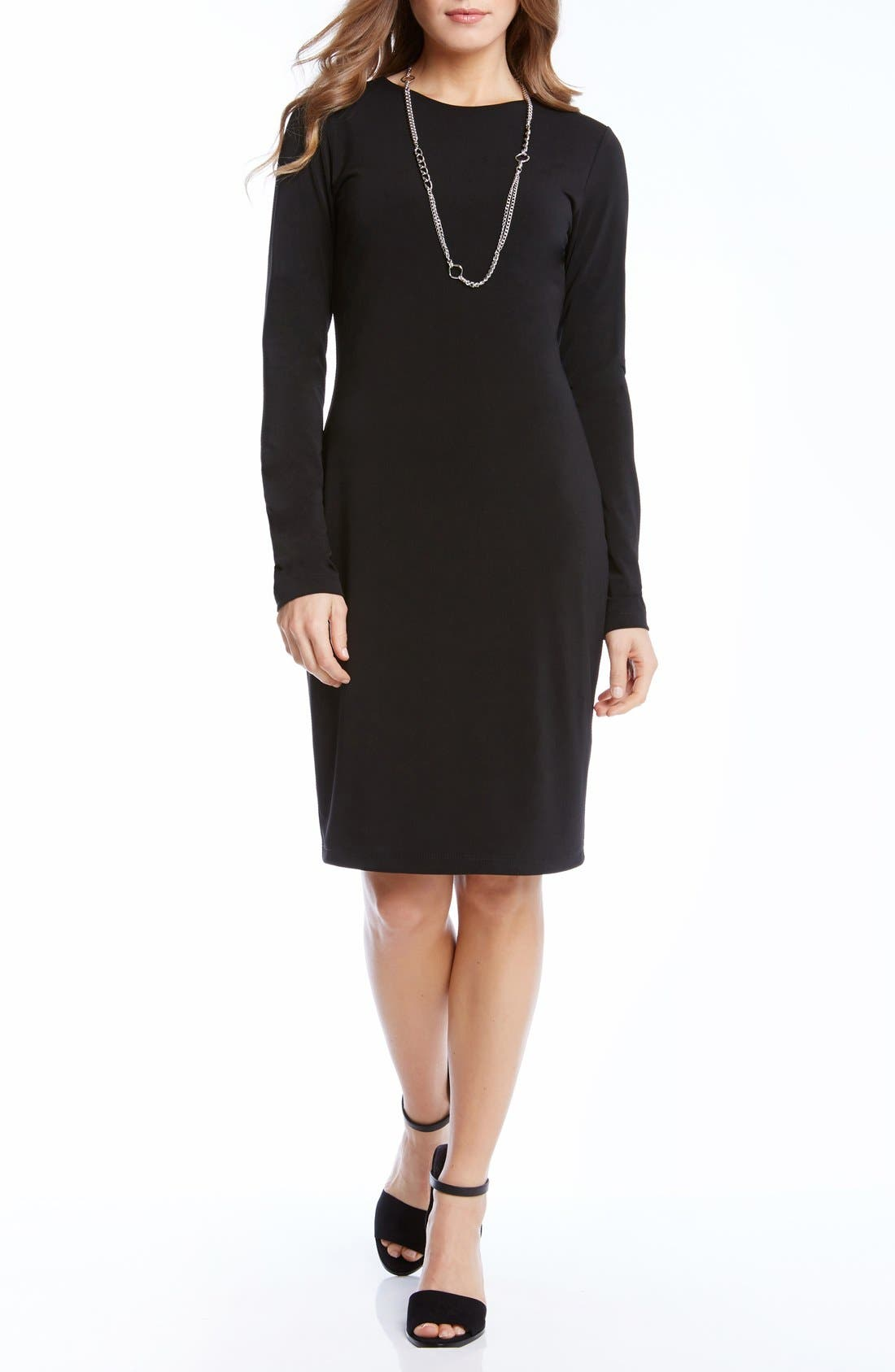 Stretch Jersey Travel Sheath Dress,                             Main thumbnail 1, color,                             001