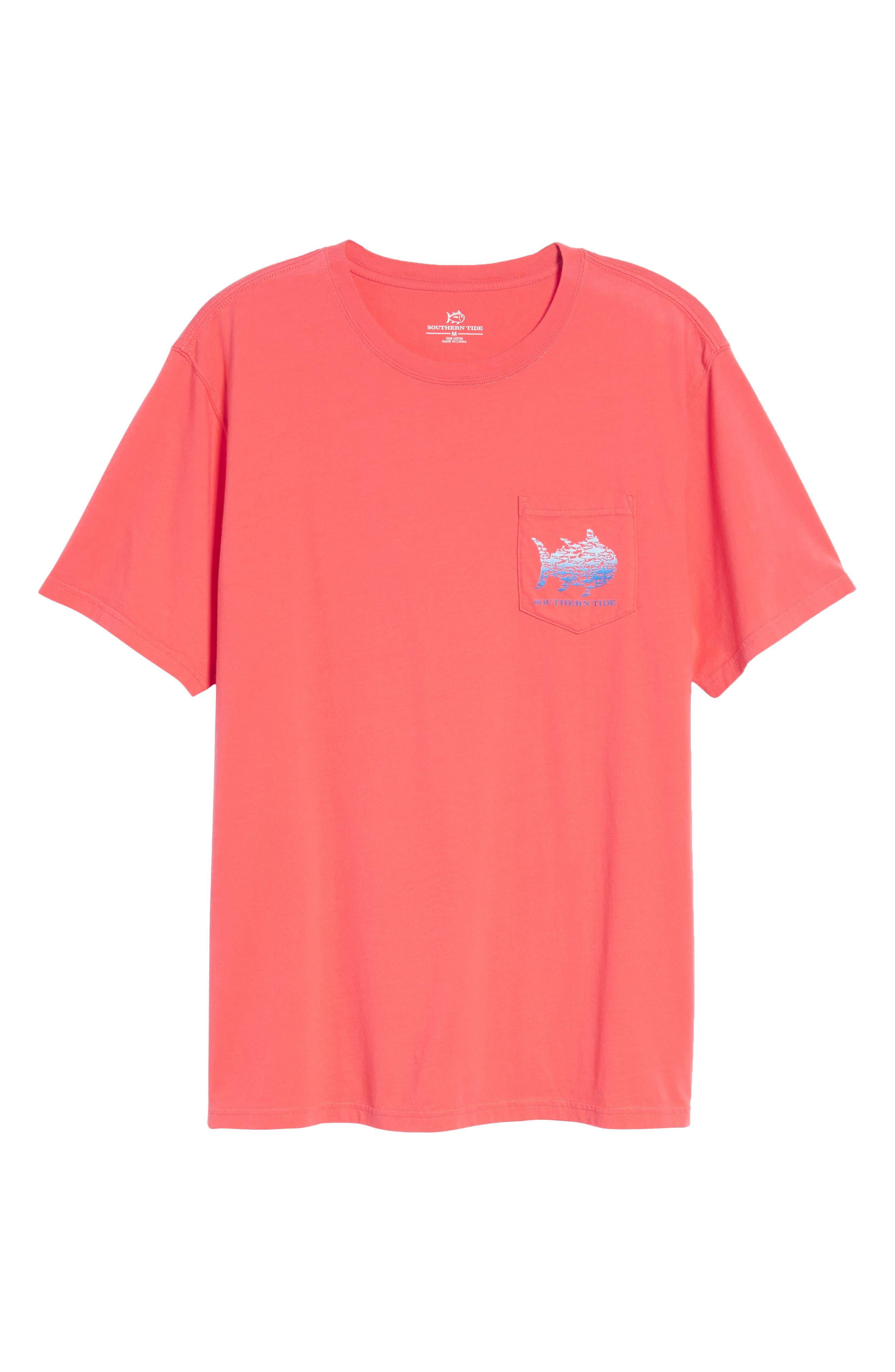 School Of Sharks Crewneck Cotton T-Shirt,                             Alternate thumbnail 6, color,                             682