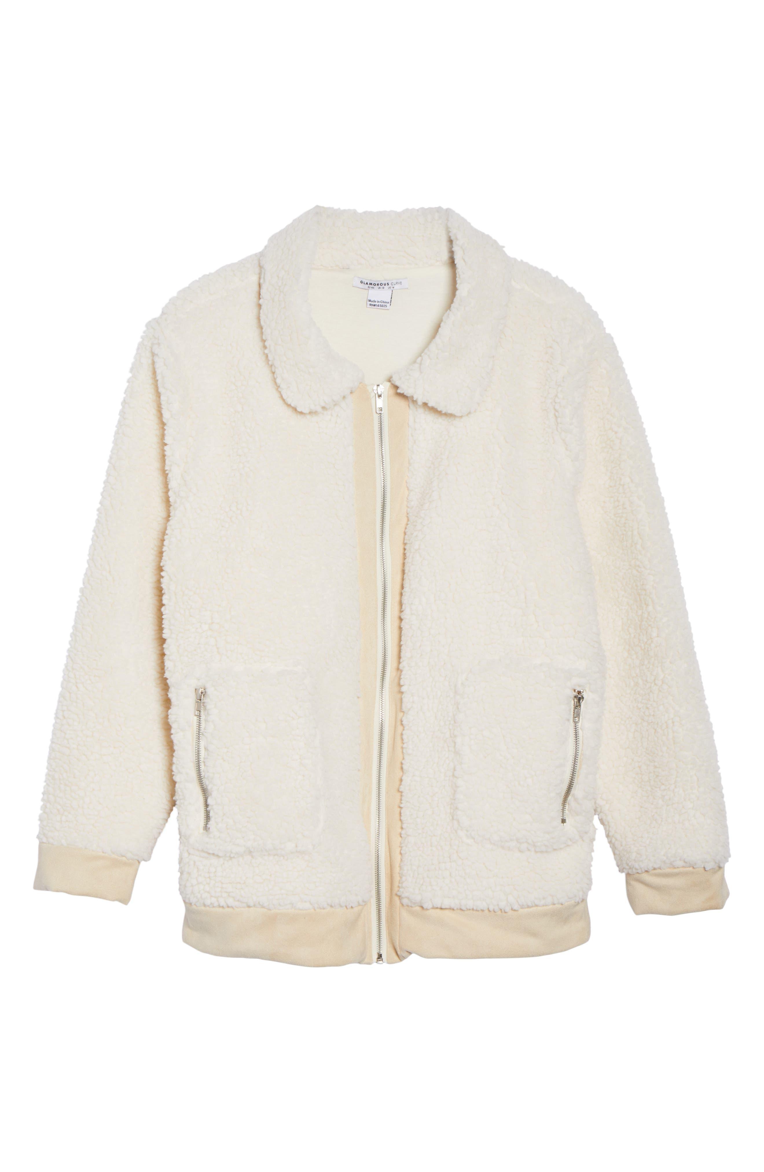 High Pile Fleece Jacket,                             Alternate thumbnail 5, color,                             100