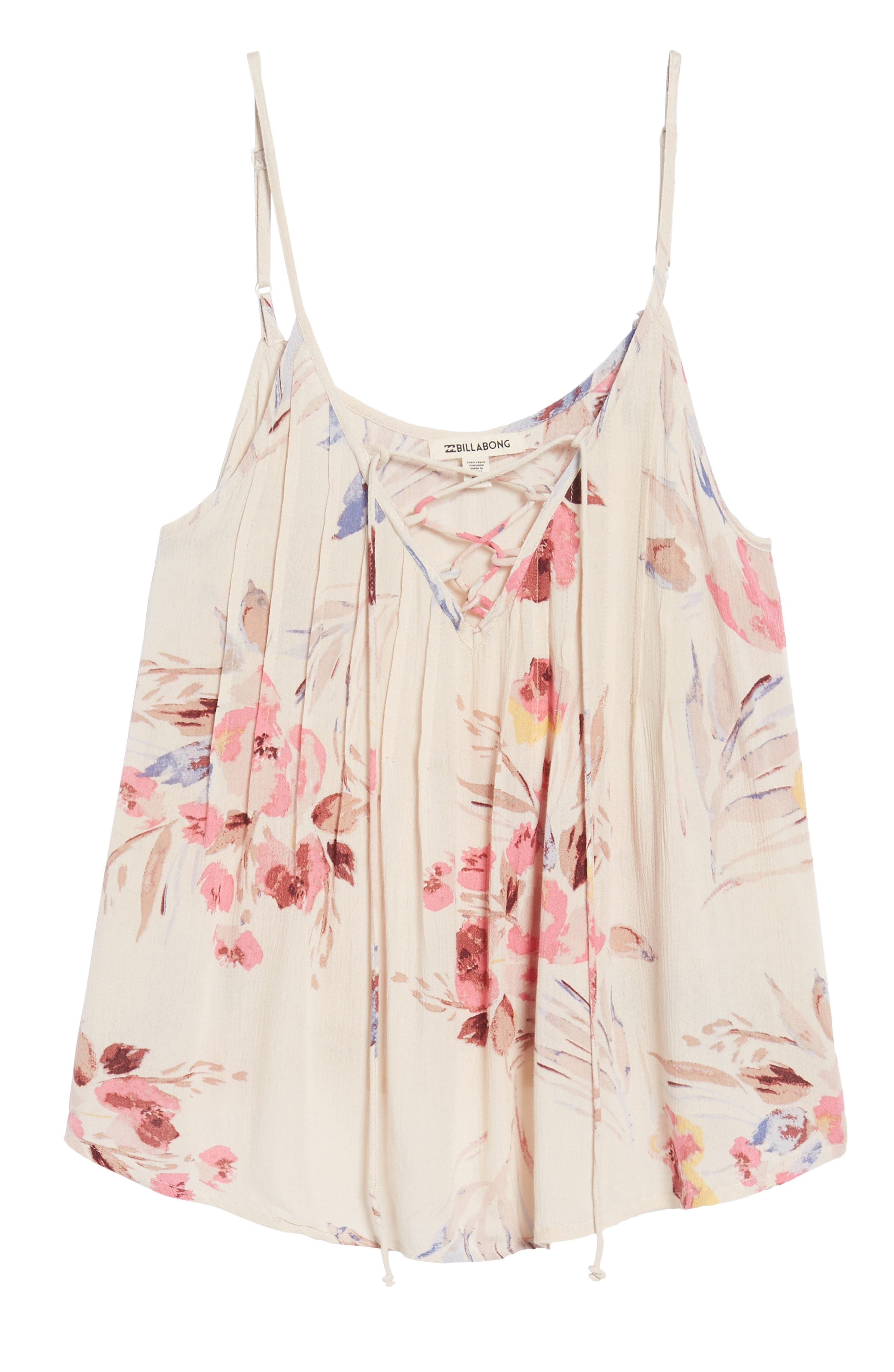 Illusions Of Floral Print Lace-Up Tank,                             Alternate thumbnail 6, color,                             900