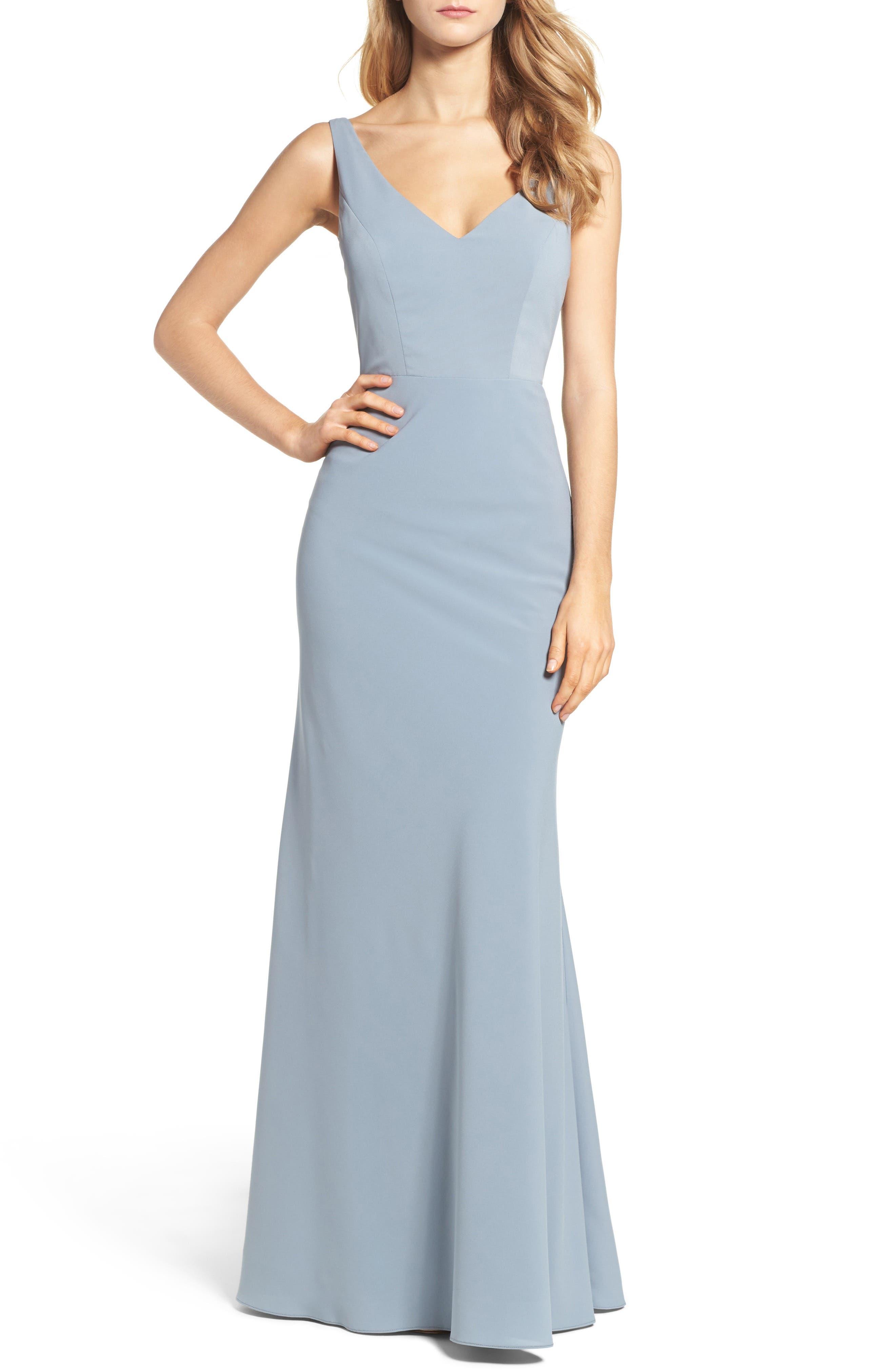 Delaney Tie Back V-Neck Gown,                             Main thumbnail 1, color,                             450