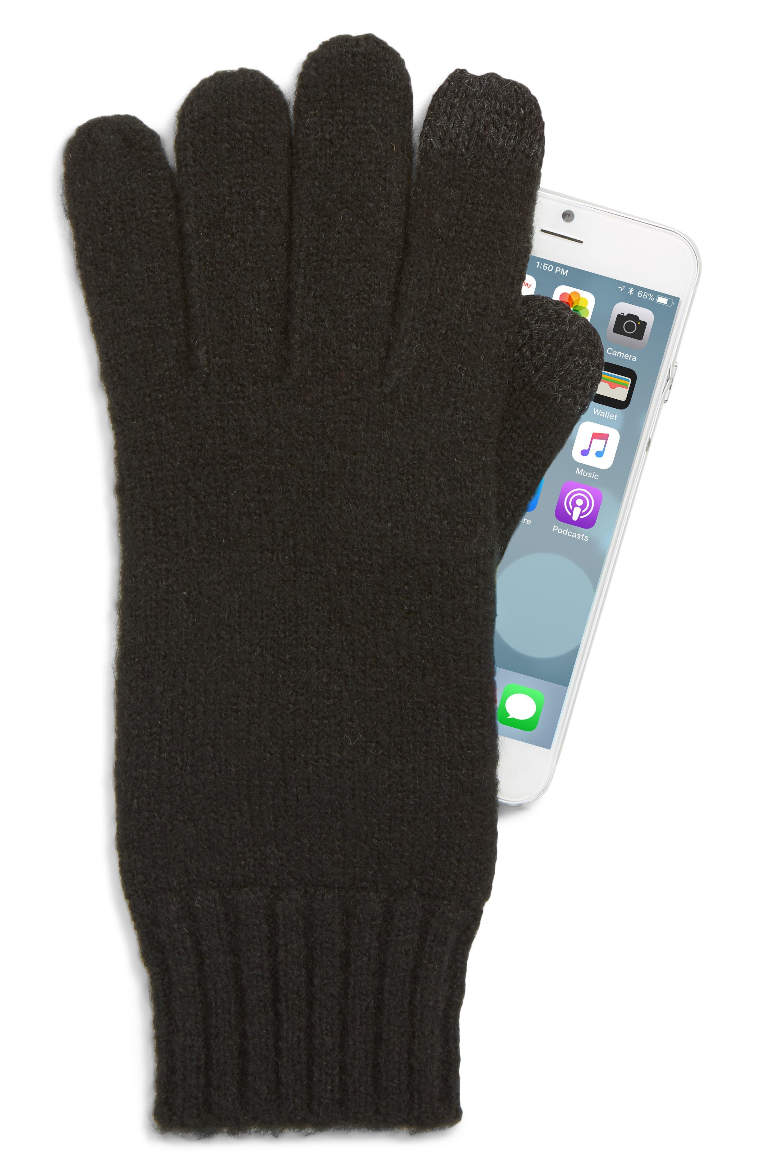 Knit Tech Gloves,                             Alternate thumbnail 2, color,                             BLACK
