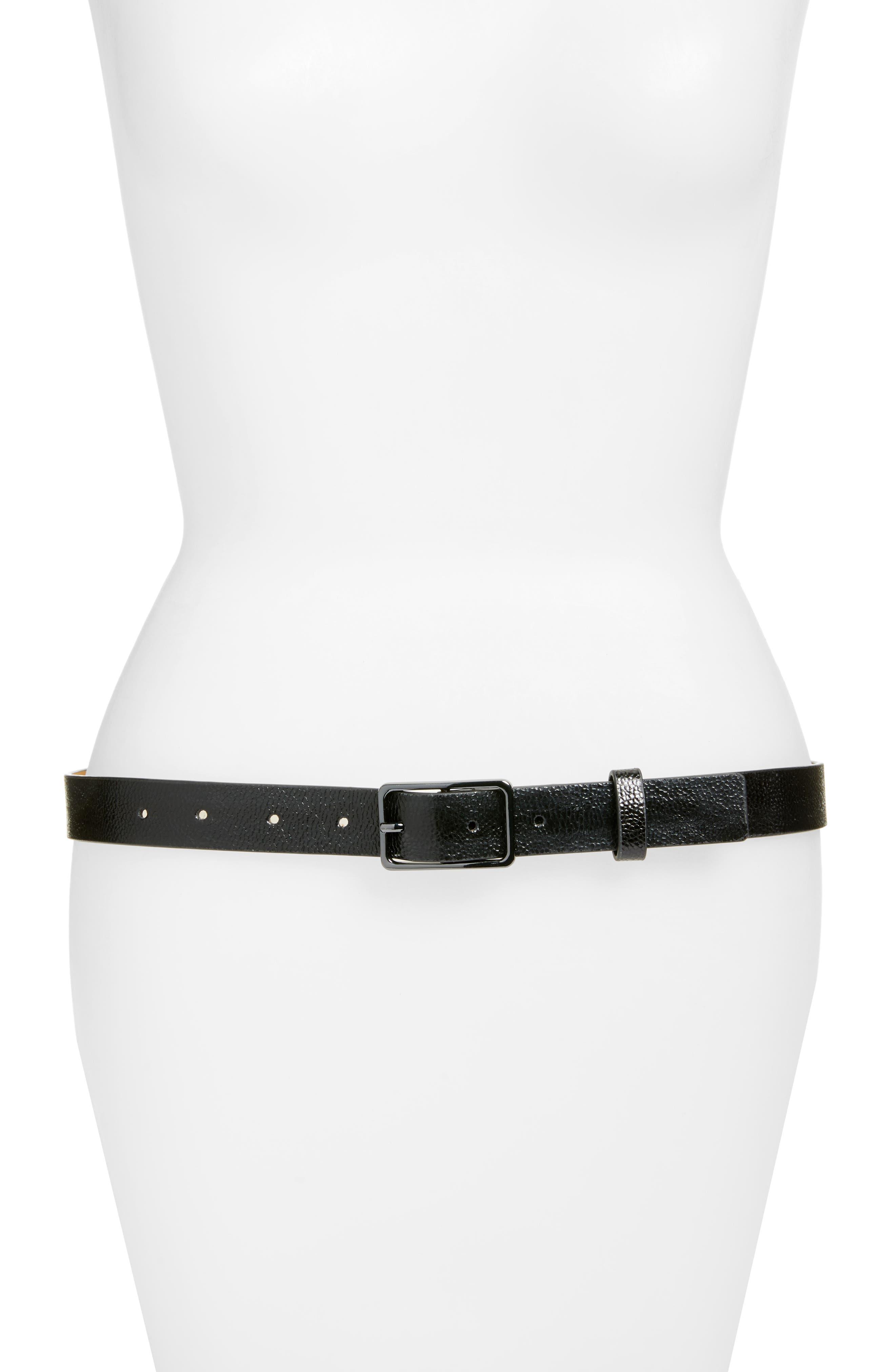 Crackle Leather Belt,                         Main,                         color, 001