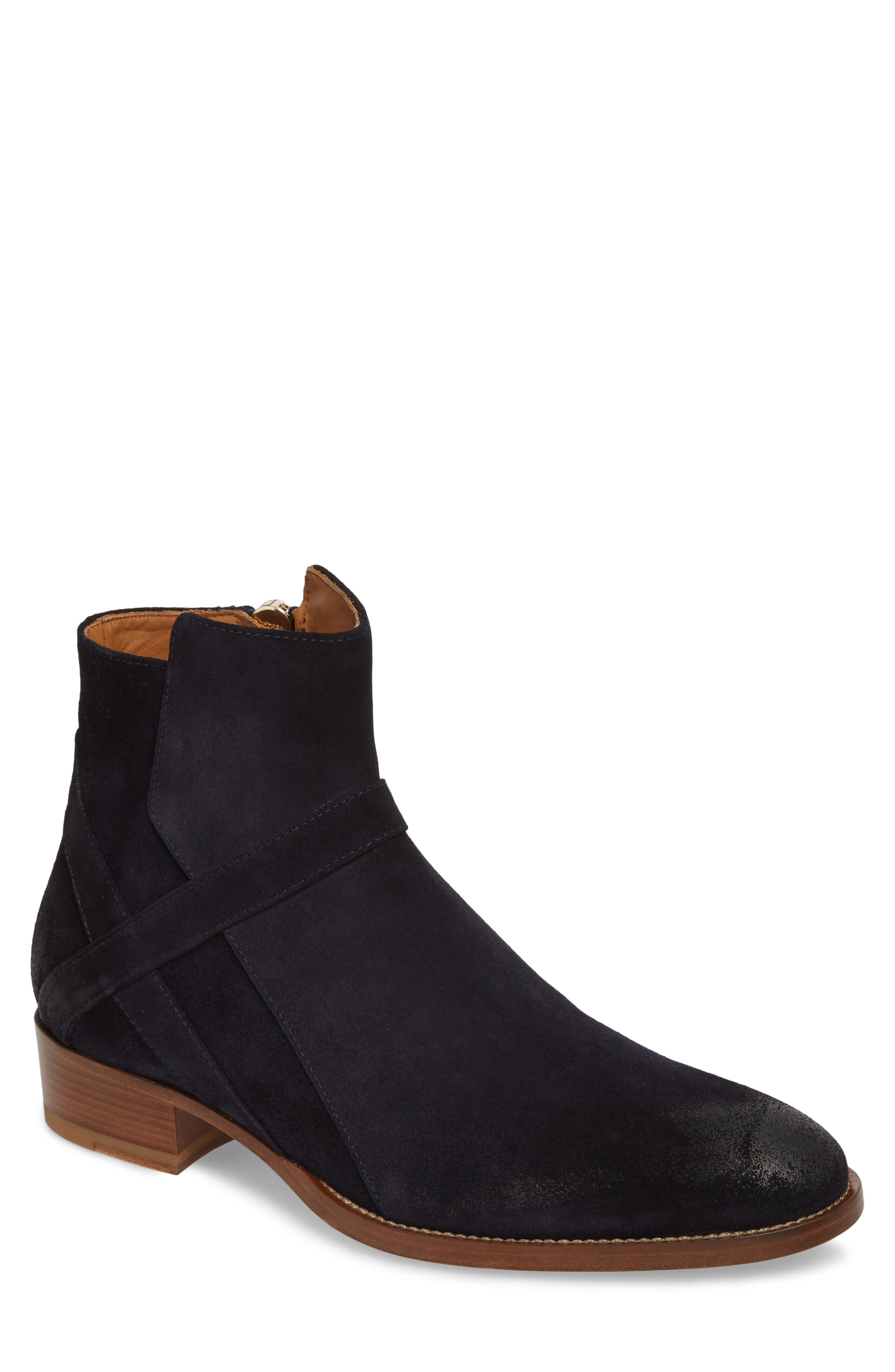 Bowie Zip Boot,                             Main thumbnail 1, color,                             NAVY SUEDE