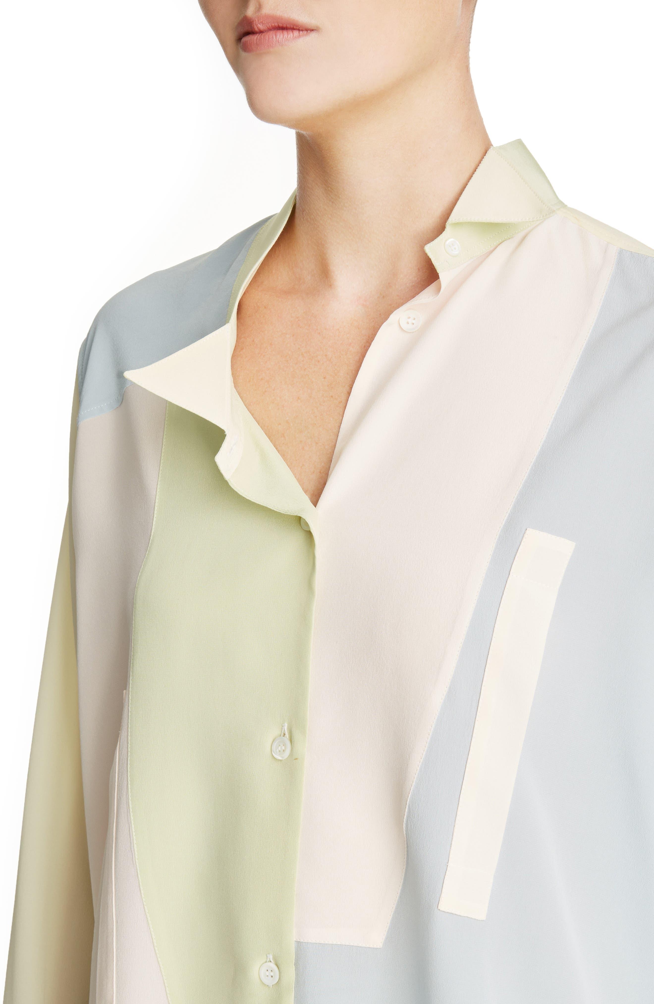 Asymmetrical Patchwork Silk Shirt,                             Alternate thumbnail 4, color,                             460