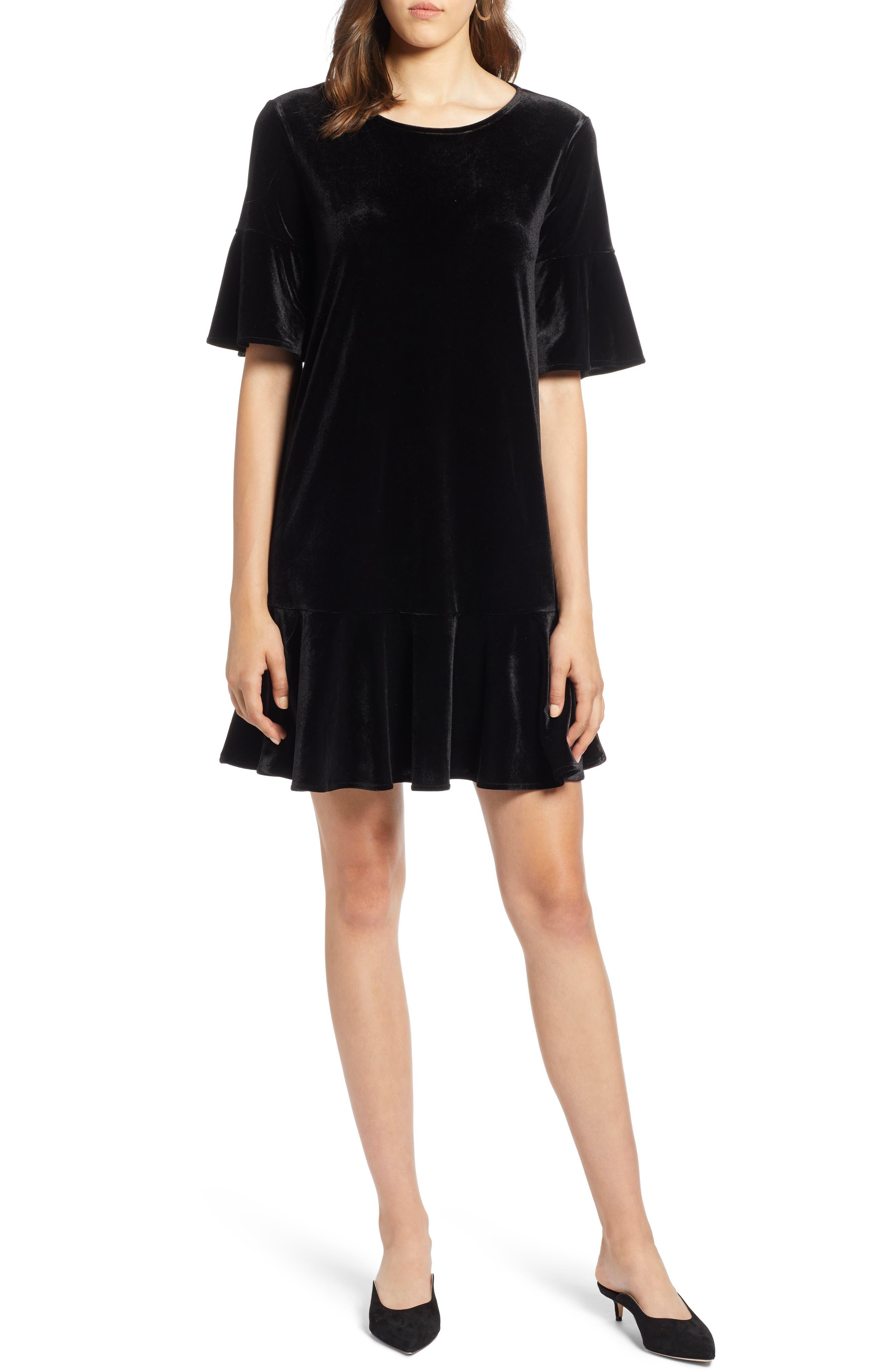 Ruffle Trim Velvet Dress,                             Main thumbnail 1, color,                             BLACK
