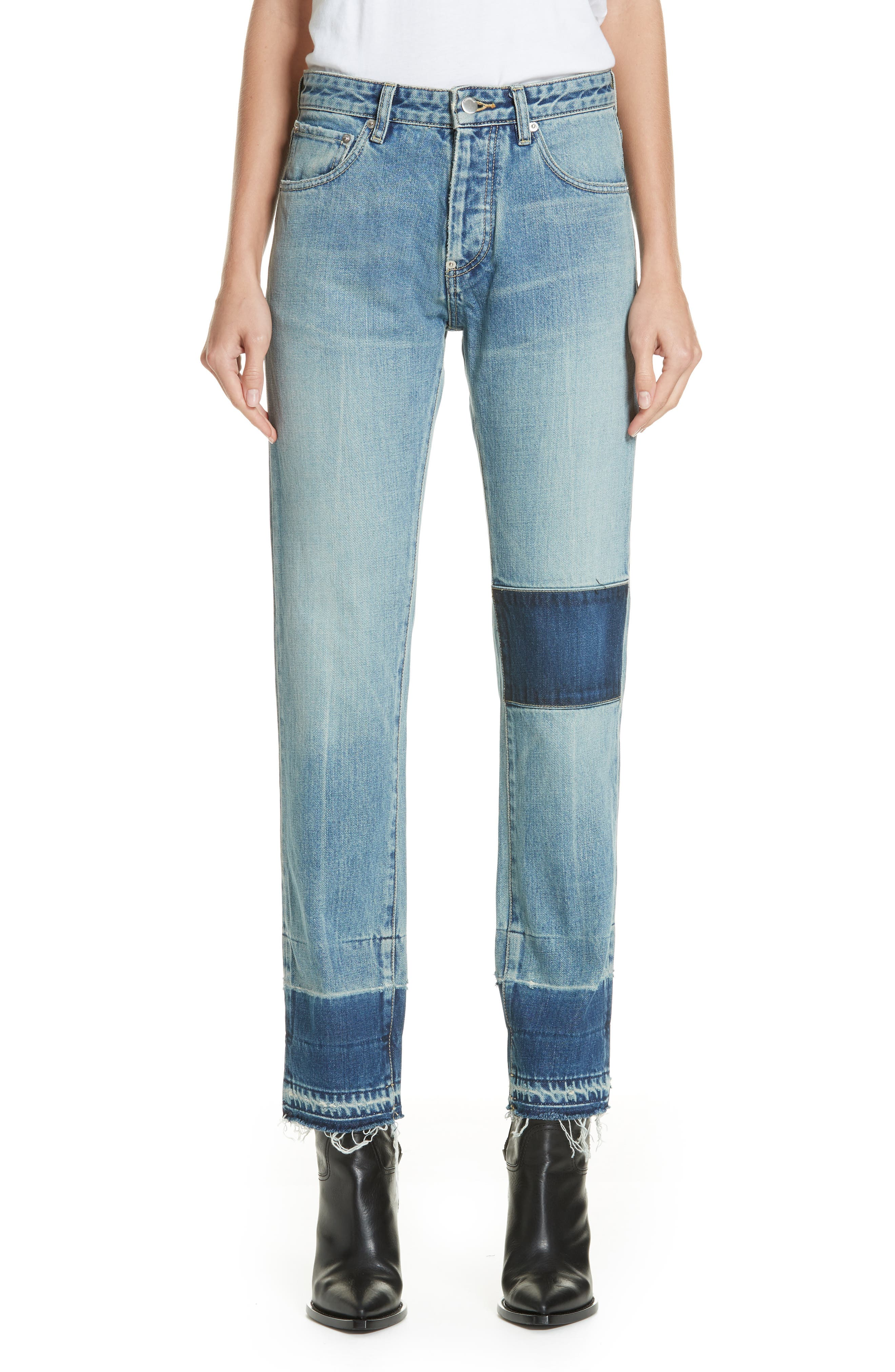 Patch Jeans,                         Main,                         color, BLUE