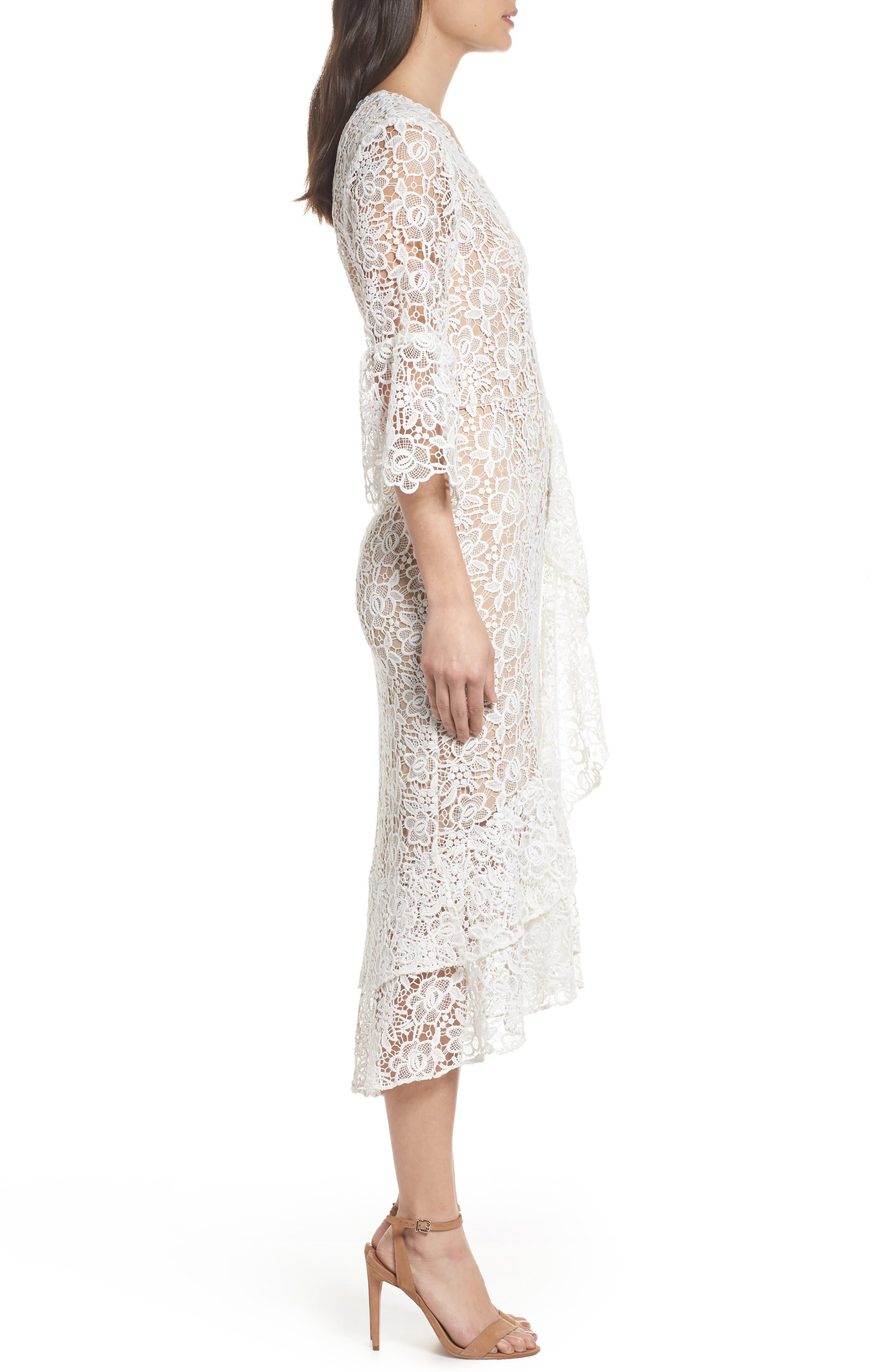 Ruffle Lace Midi Dress,                             Alternate thumbnail 3, color,                             100