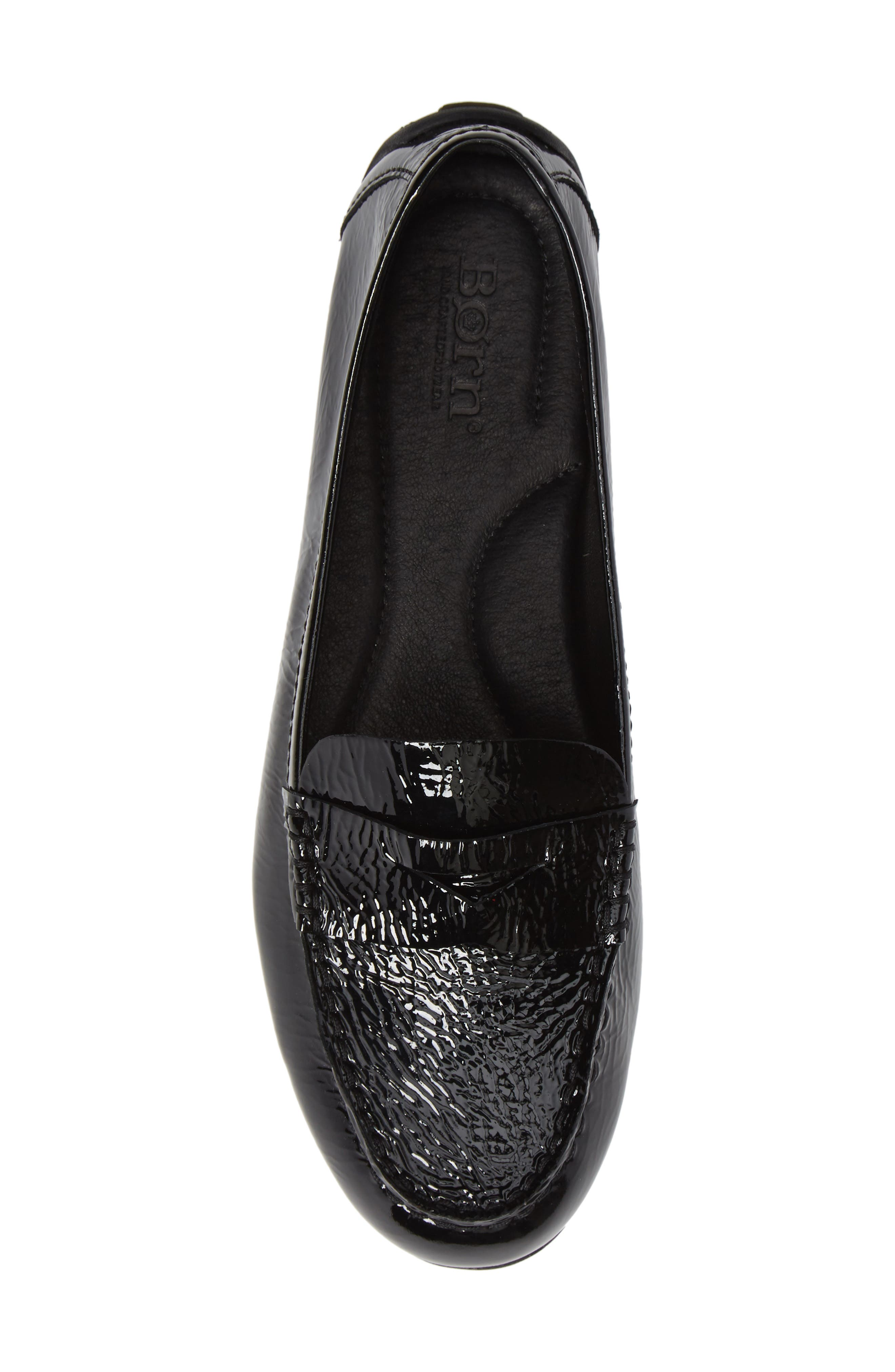 Malena Driving Loafer,                             Alternate thumbnail 5, color,                             BLACK PATENT LEATHER