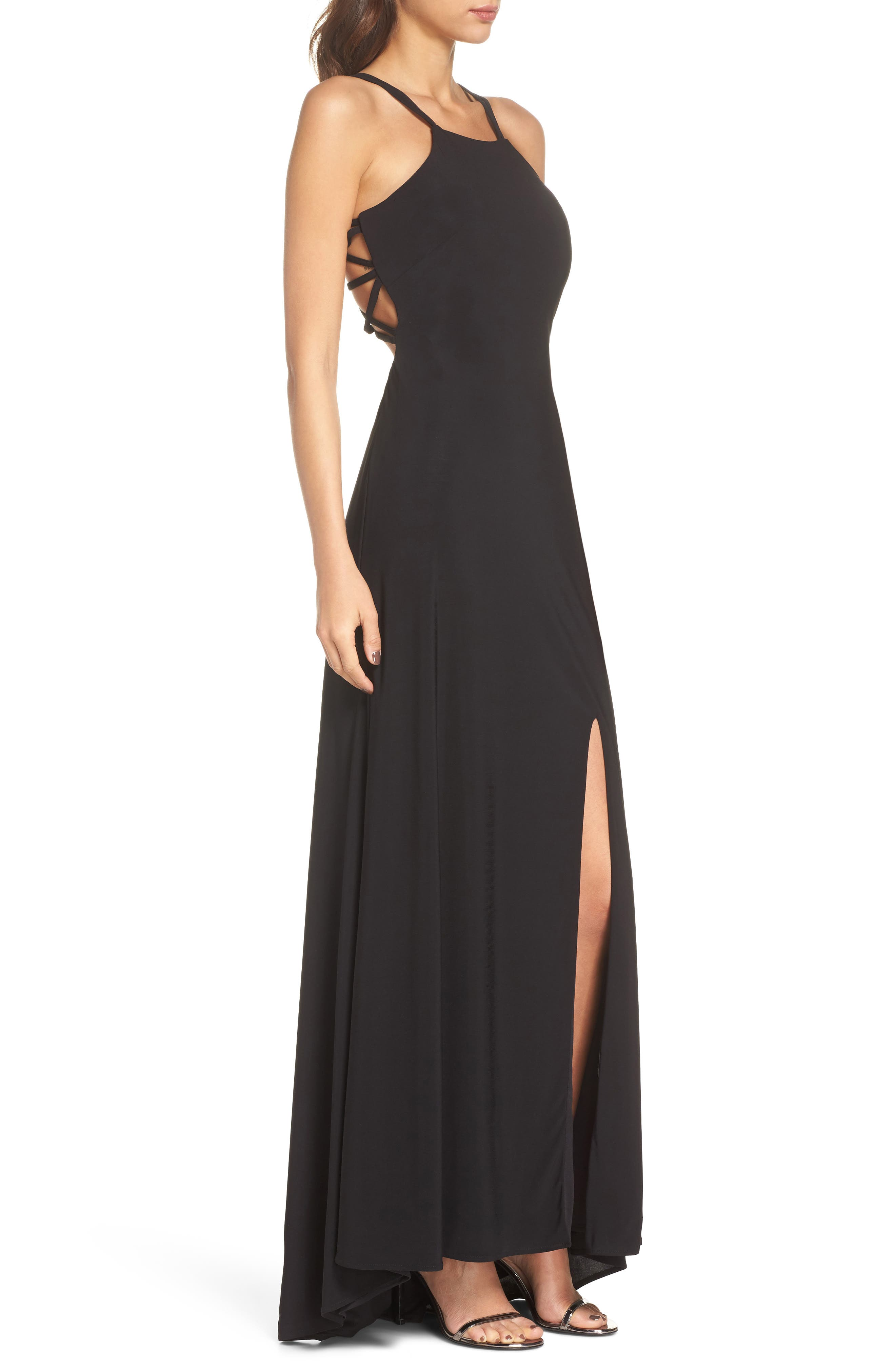 Strappy Trumpet Gown,                             Alternate thumbnail 3, color,                             BLACK