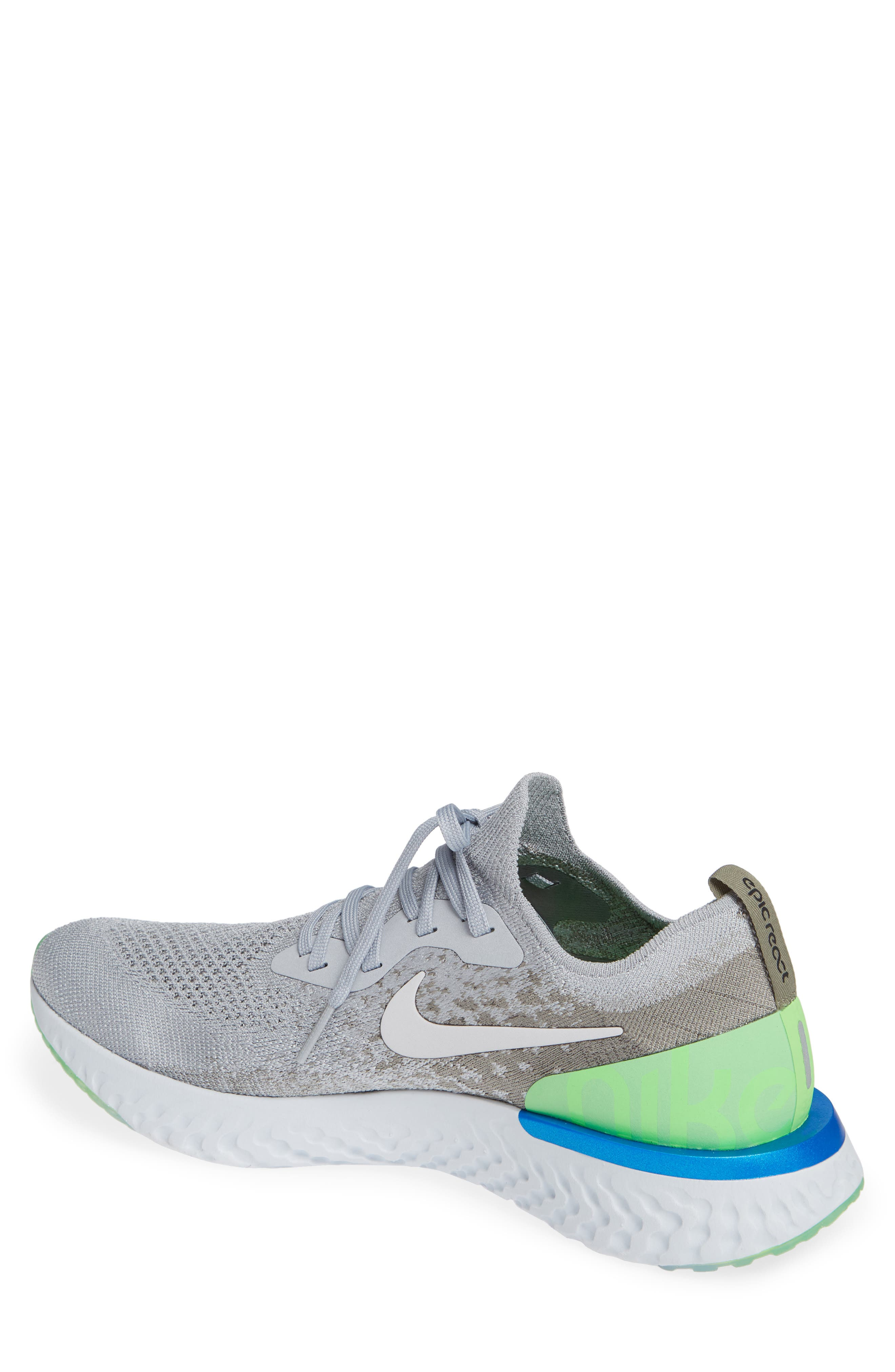 Epic React Flyknit Running Shoe,                             Alternate thumbnail 2, color,                             GREY