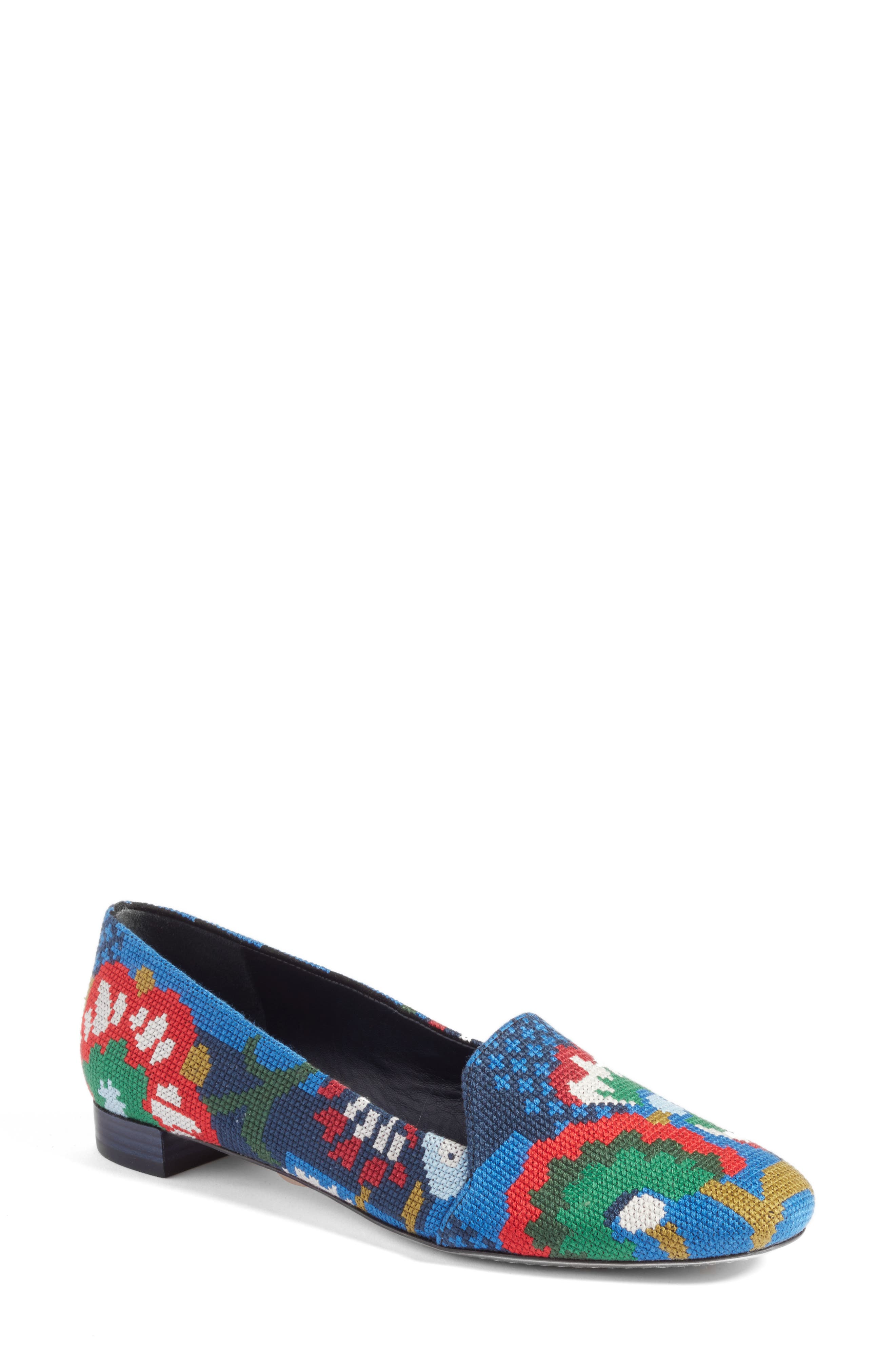 Sadie Floral Cross Stitch Loafer,                         Main,                         color, 478