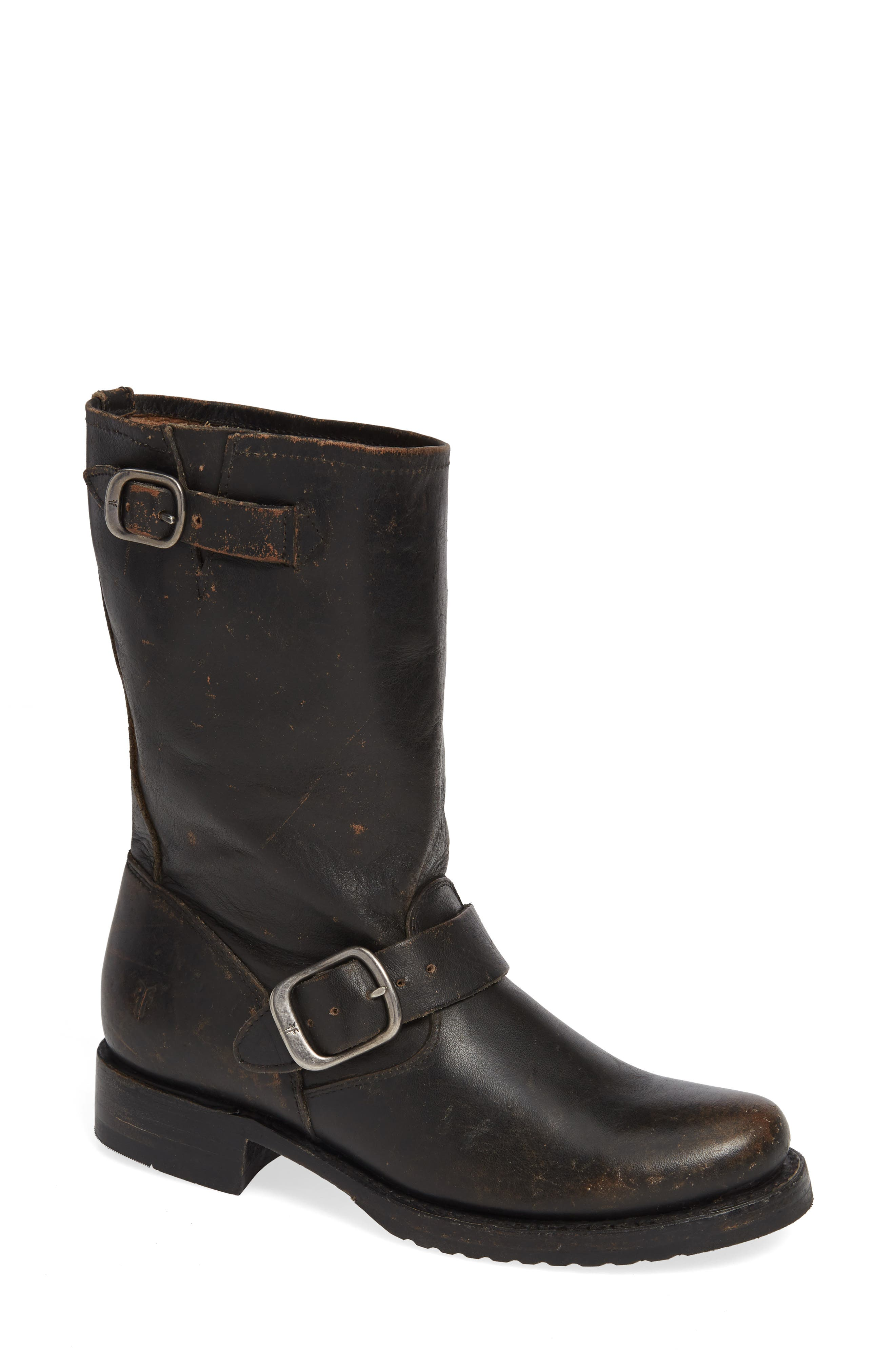 'Veronica' Short Boot,                             Main thumbnail 1, color,                             BLACK BRUSH OFF LEATHER