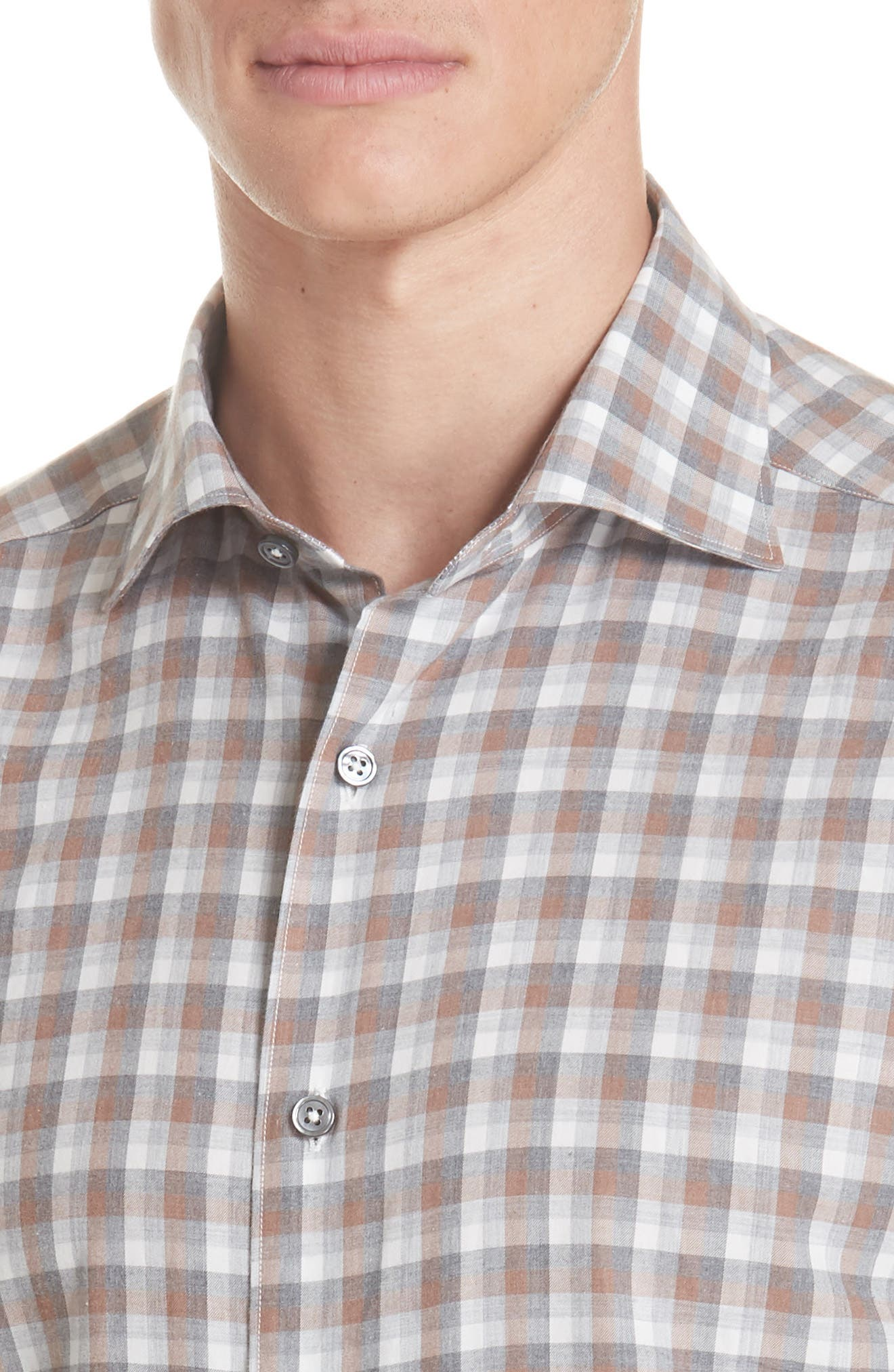 Classic Fit Check Sport Shirt,                             Alternate thumbnail 2, color,                             BROWN
