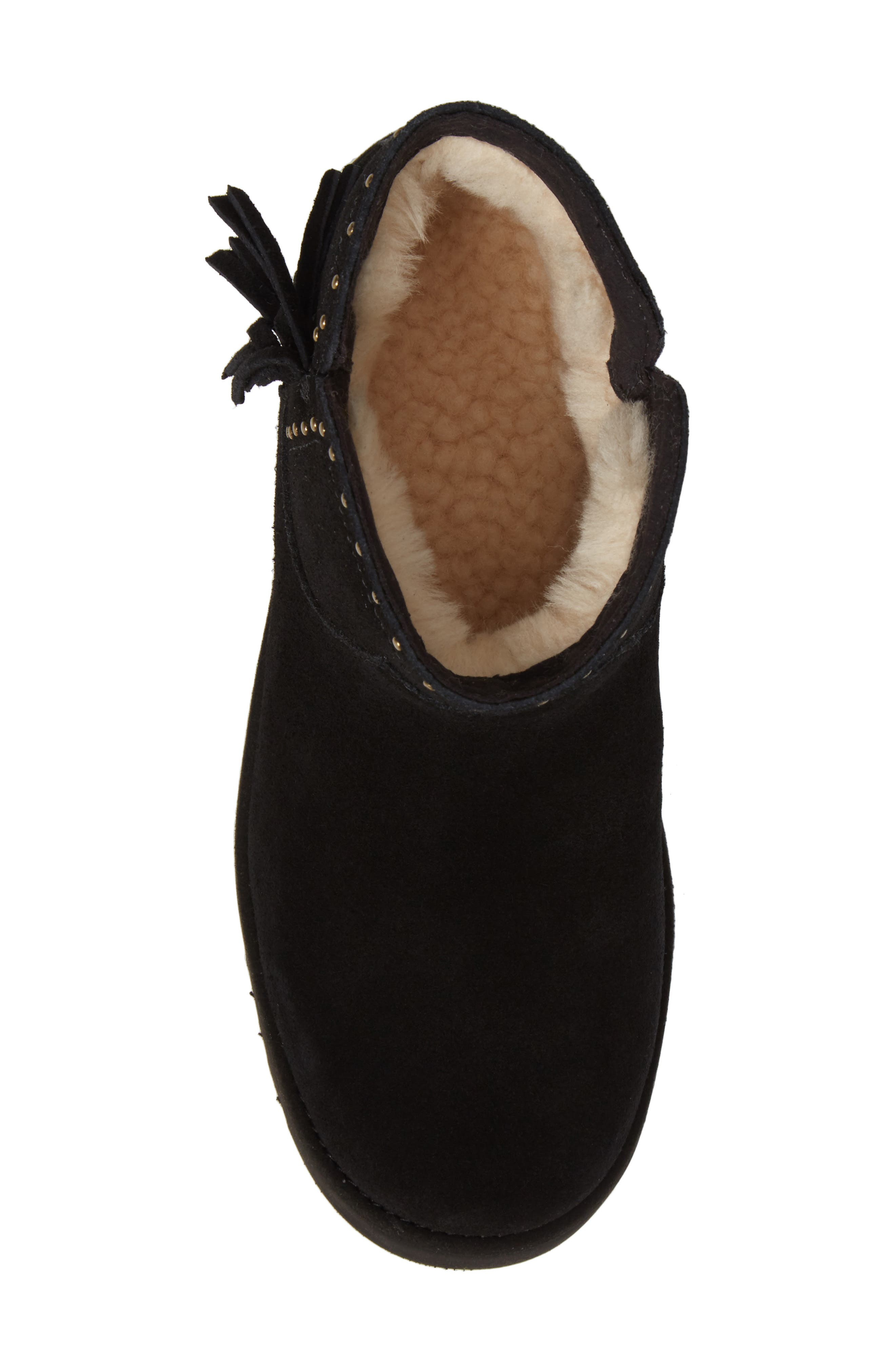 Cindy Water-Resistant Genuine Shearling Studded Bootie,                             Alternate thumbnail 5, color,                             001