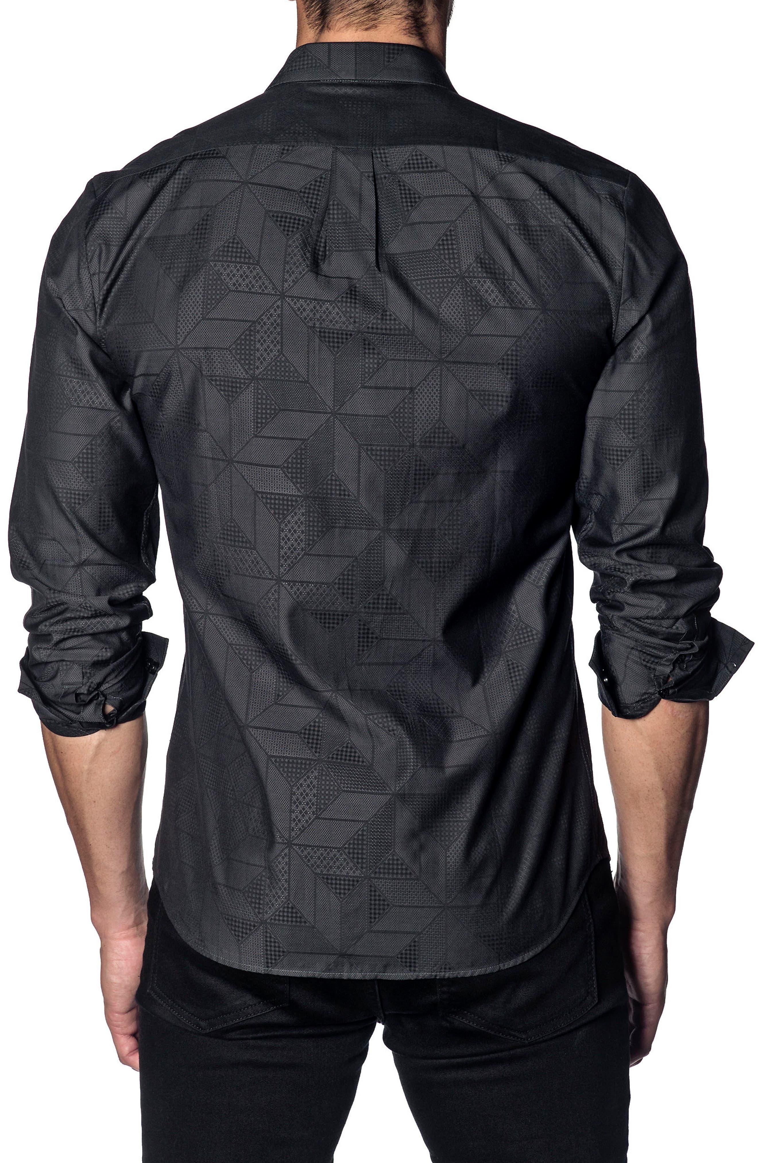 Trim Fit Sport Shirt,                             Alternate thumbnail 2, color,                             BLACK GEOMETRIC